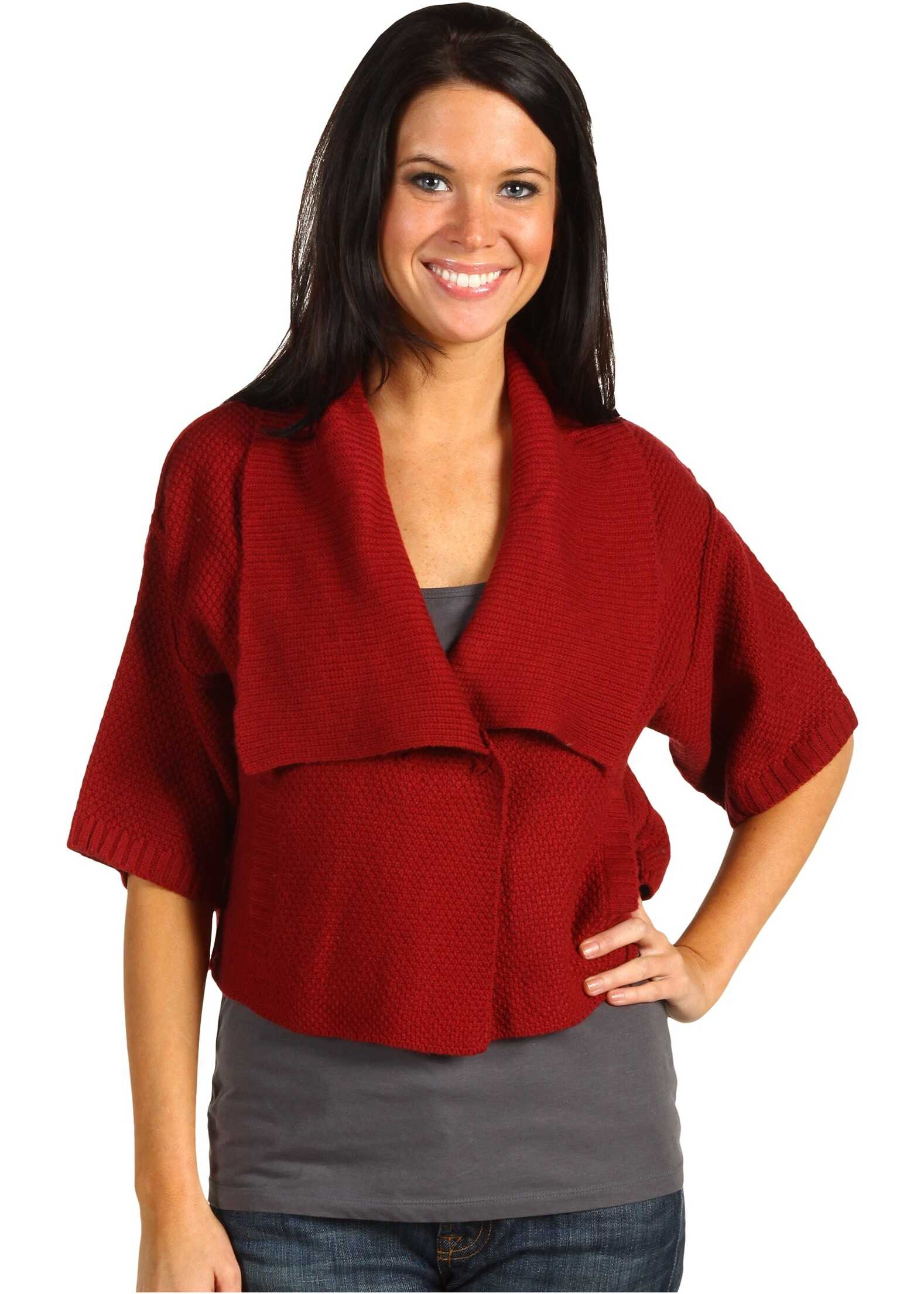 Michael Stars Cashmere Blend 5GG Cropped Wrap With Pockets* Garnet