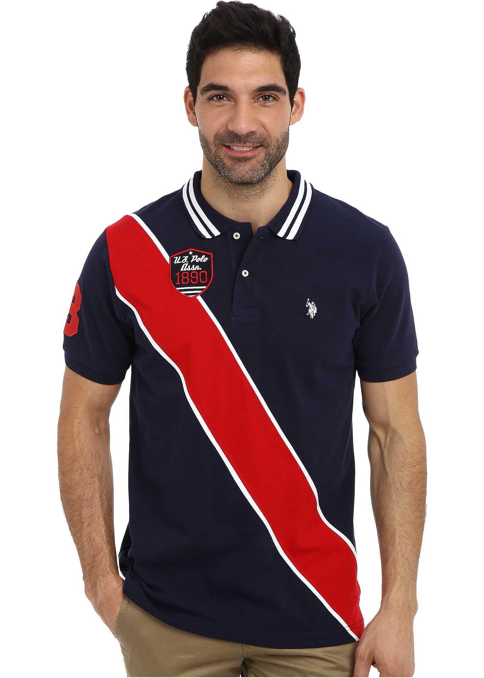 U.S. POLO ASSN. Diagonal Stripes Short Sleeve Pique Polo Classic Navy