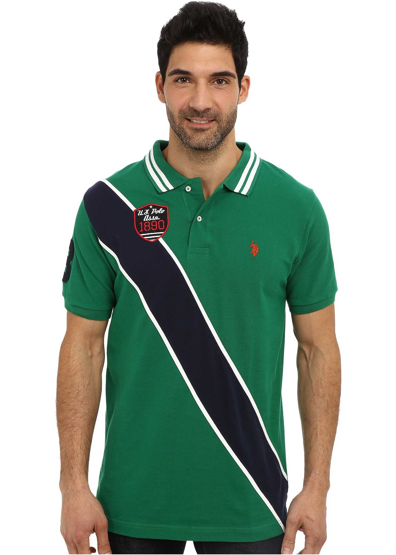 U.S. POLO ASSN. Diagonal Stripes Short Sleeve Pique Polo Hiking Green