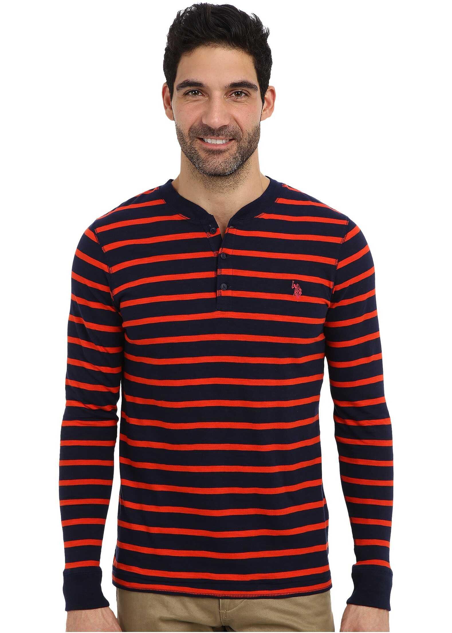 U.S. POLO ASSN. Slim Fit Long Sleeve Slub Henley w/ Stripes Harvest Orange