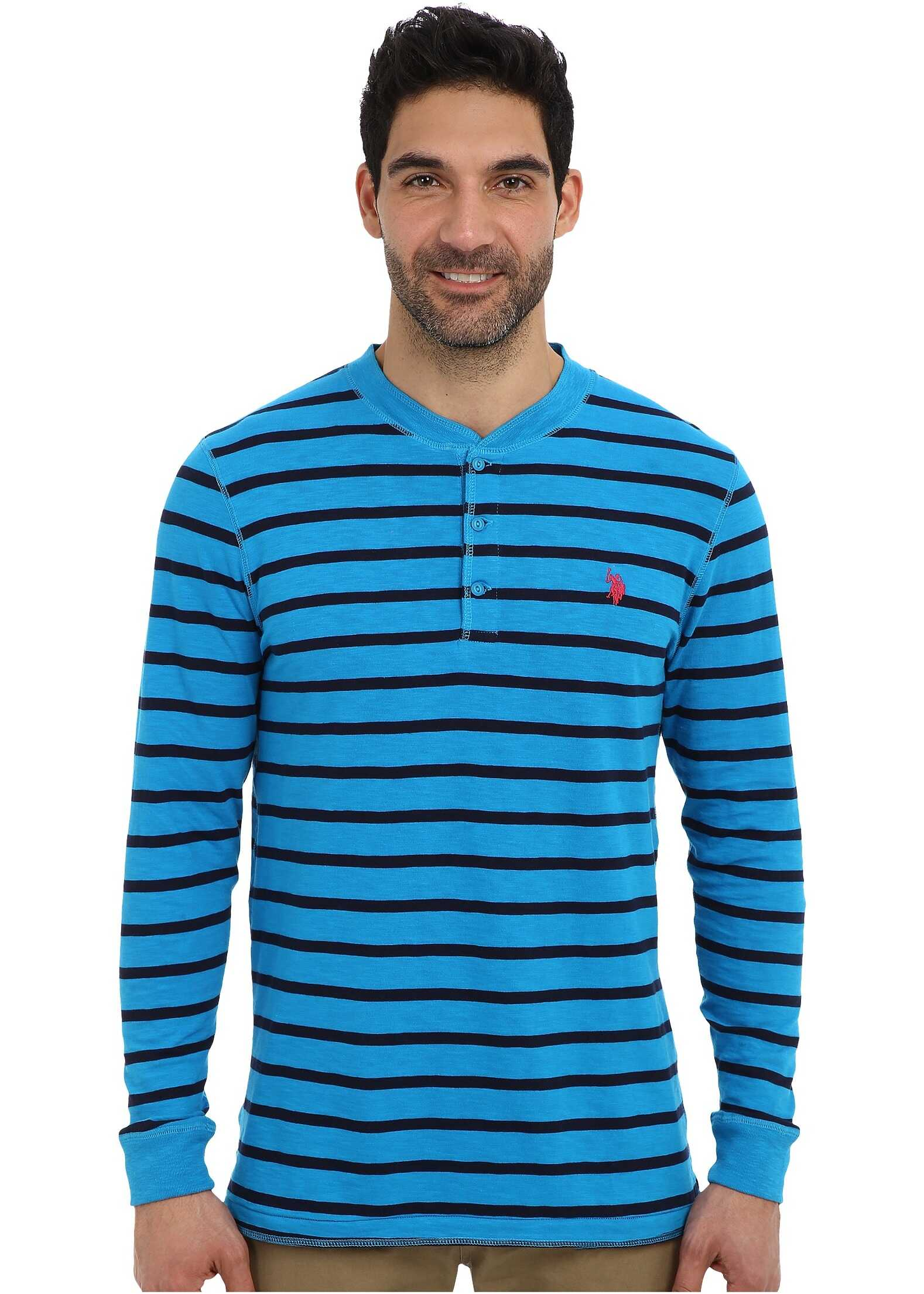 U.S. POLO ASSN. Slim Fit Long Sleeve Slub Henley w/ Stripes Teal Blue