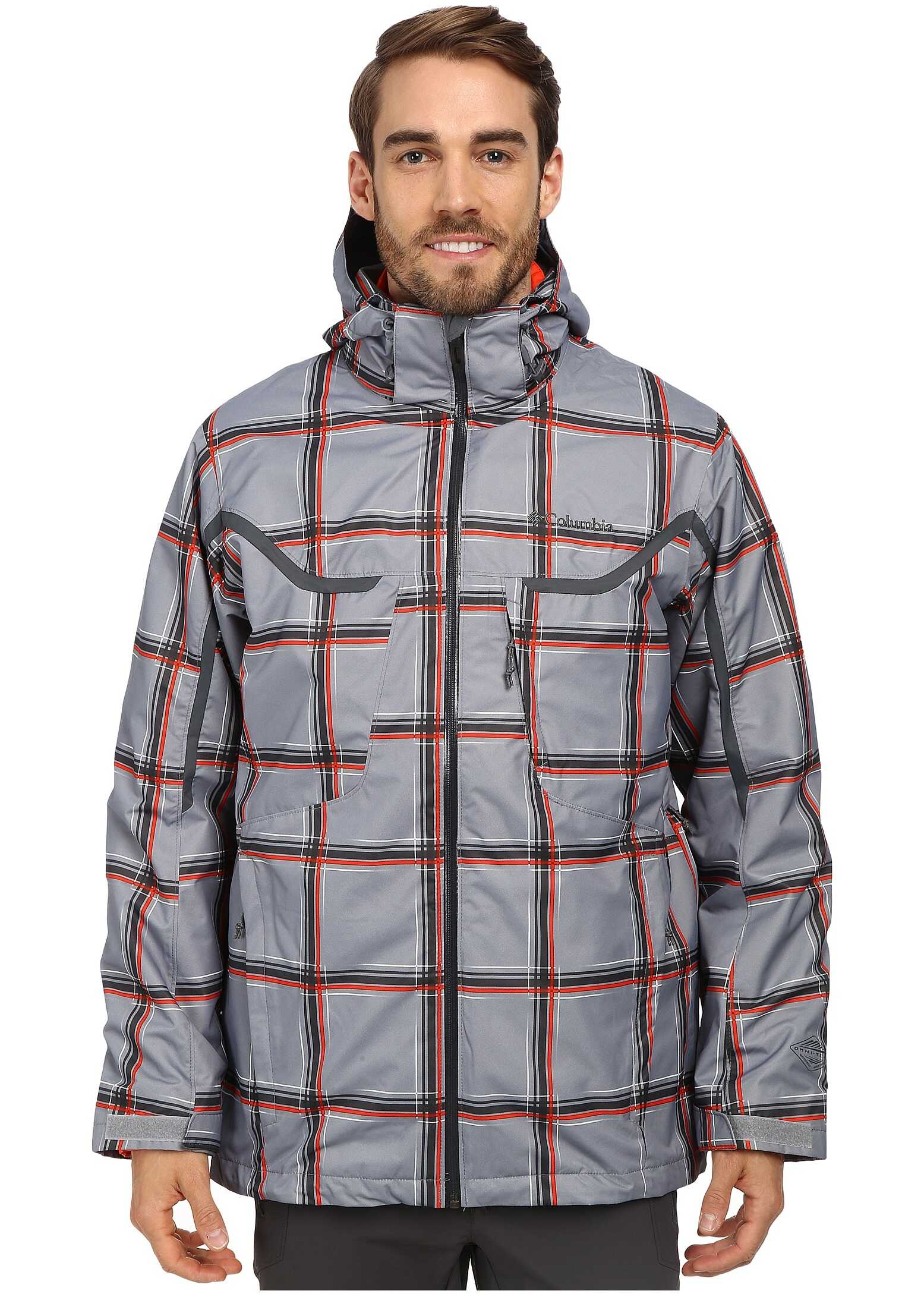 Columbia Whirlibird™ Interchange Jacket Tradewinds Grey Plaid/Graphite/State Orange