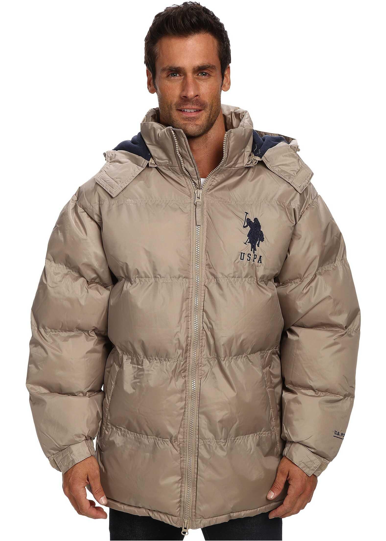 U.S. POLO ASSN. Signature Long Bubble Coat w/ Large Pony & Polar Fleece Lining Thomston Khaki