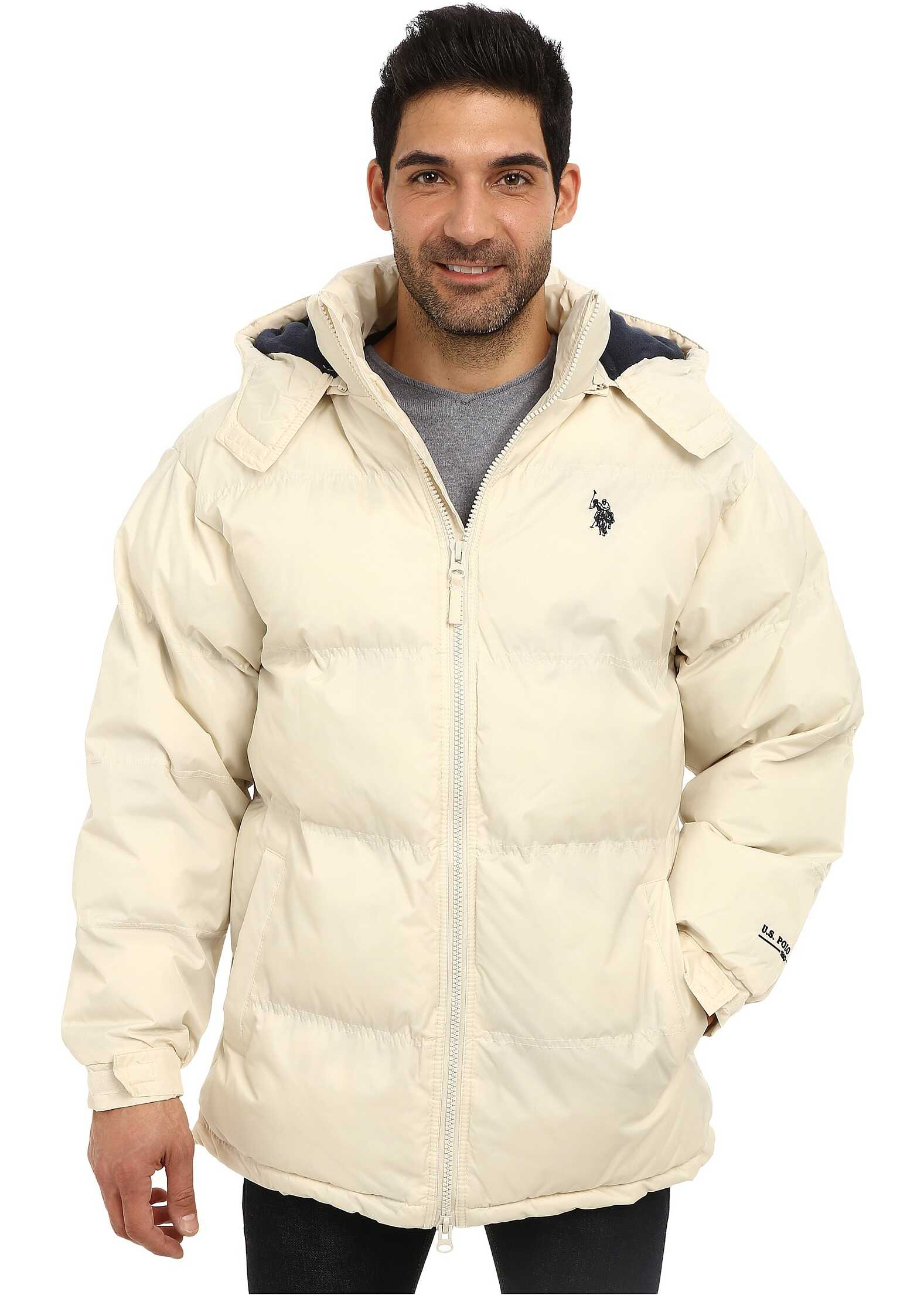 U.S. POLO ASSN. Signature Long Bubble Coat w/ Small Pony & Polar Fleece Lining White Winter