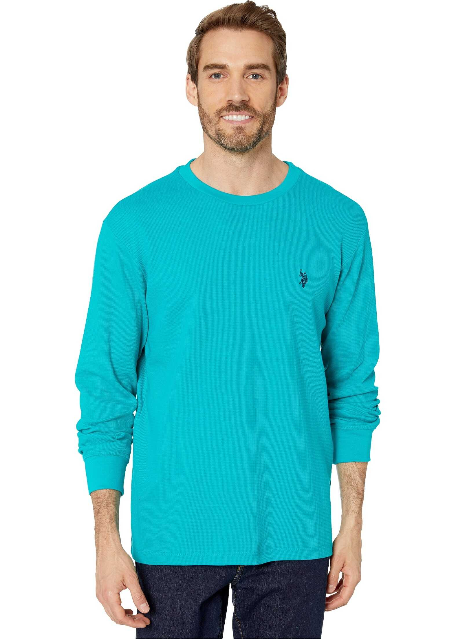 U.S. POLO ASSN. Long Sleeve Crew Neck Solid Thermal Shirt Turquoise Clash