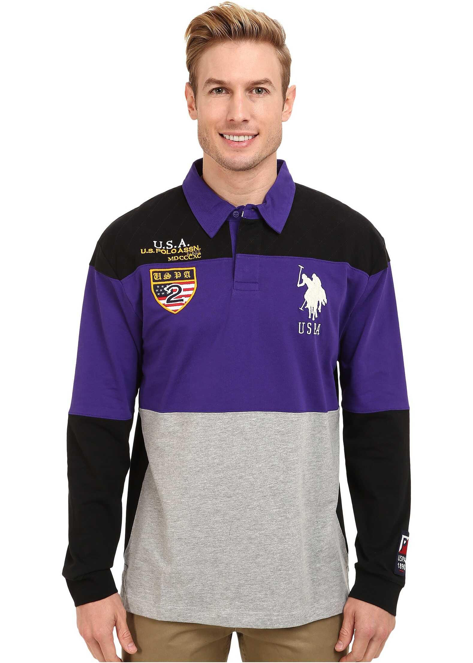 U.S. POLO ASSN. Jersey Color Block Rugby Polo Dark Violet