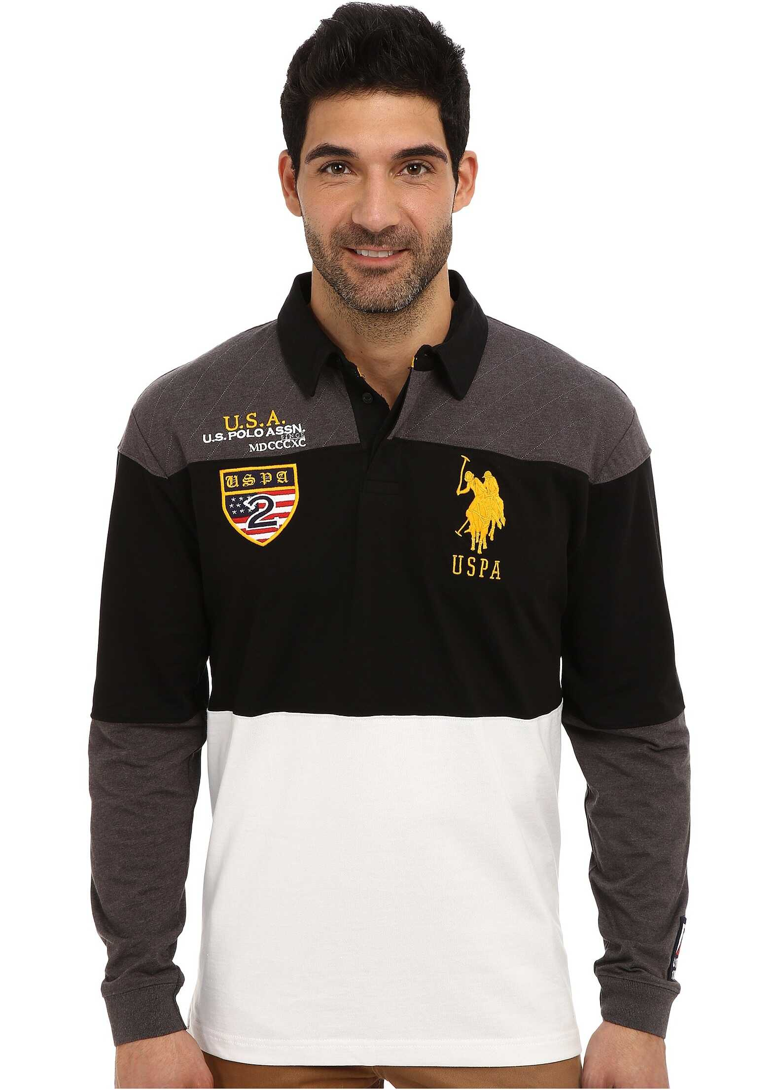 U.S. POLO ASSN. Jersey Color Block Rugby Polo Heather Dark Gray