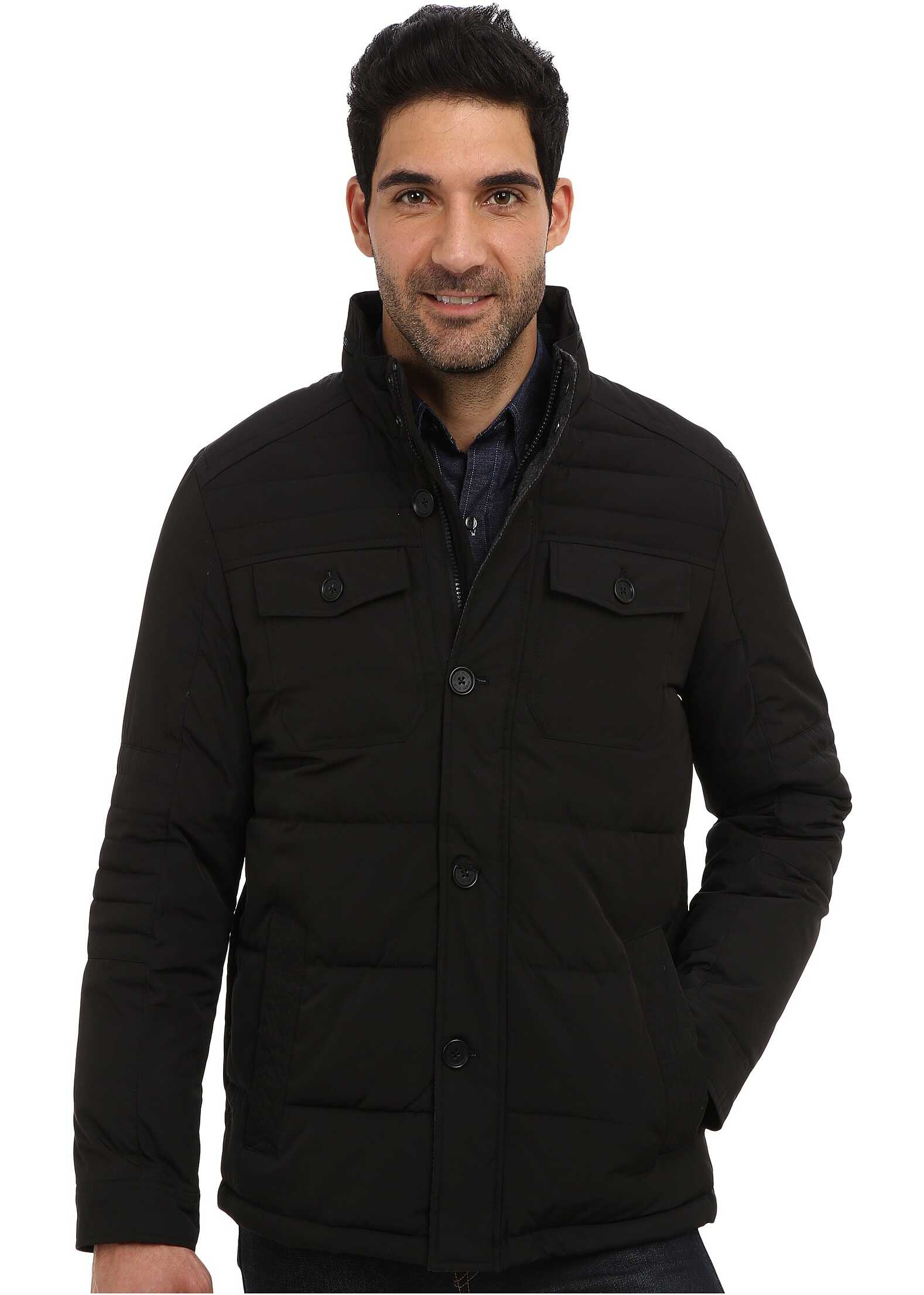 Perry Ellis Quilted Four Pocket Jacket EP822679 Black