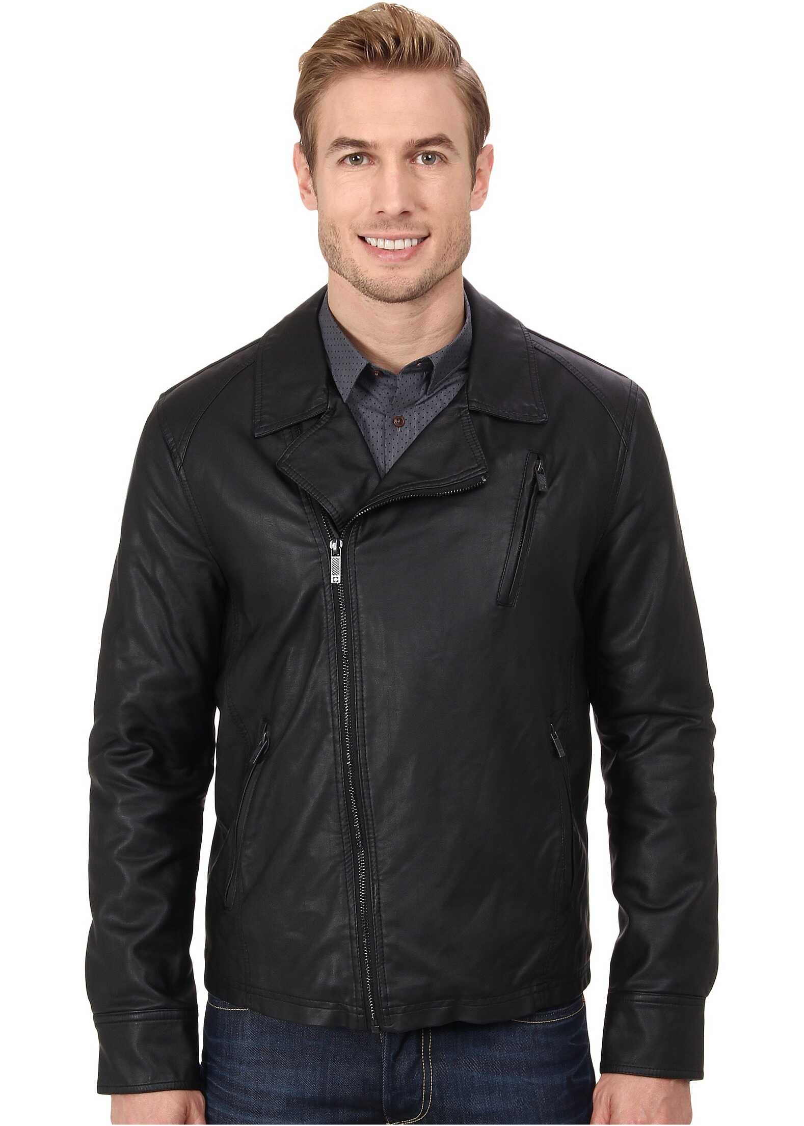 Kenneth Cole Reaction Asymmetrical Zip Front Faux Leather Hipster Black