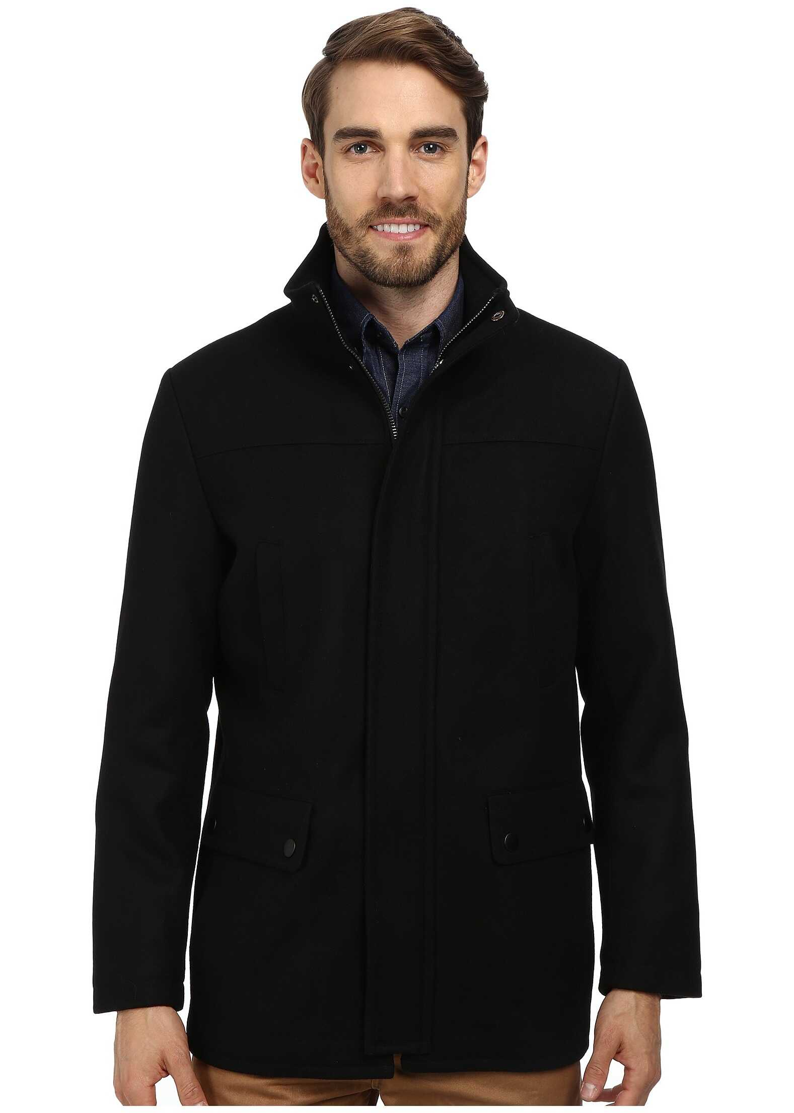 Kenneth Cole Reaction Wool Car Coat Black 1
