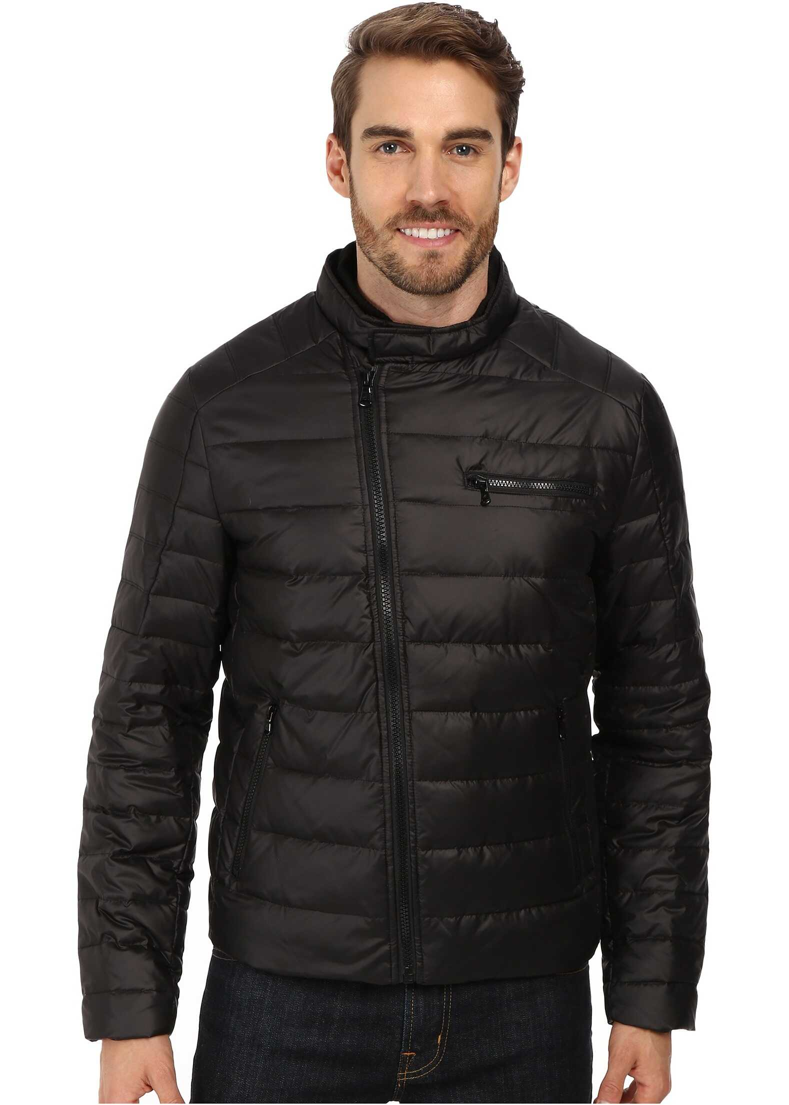 Kenneth Cole New York Down Flap Zip Front Jacket Black