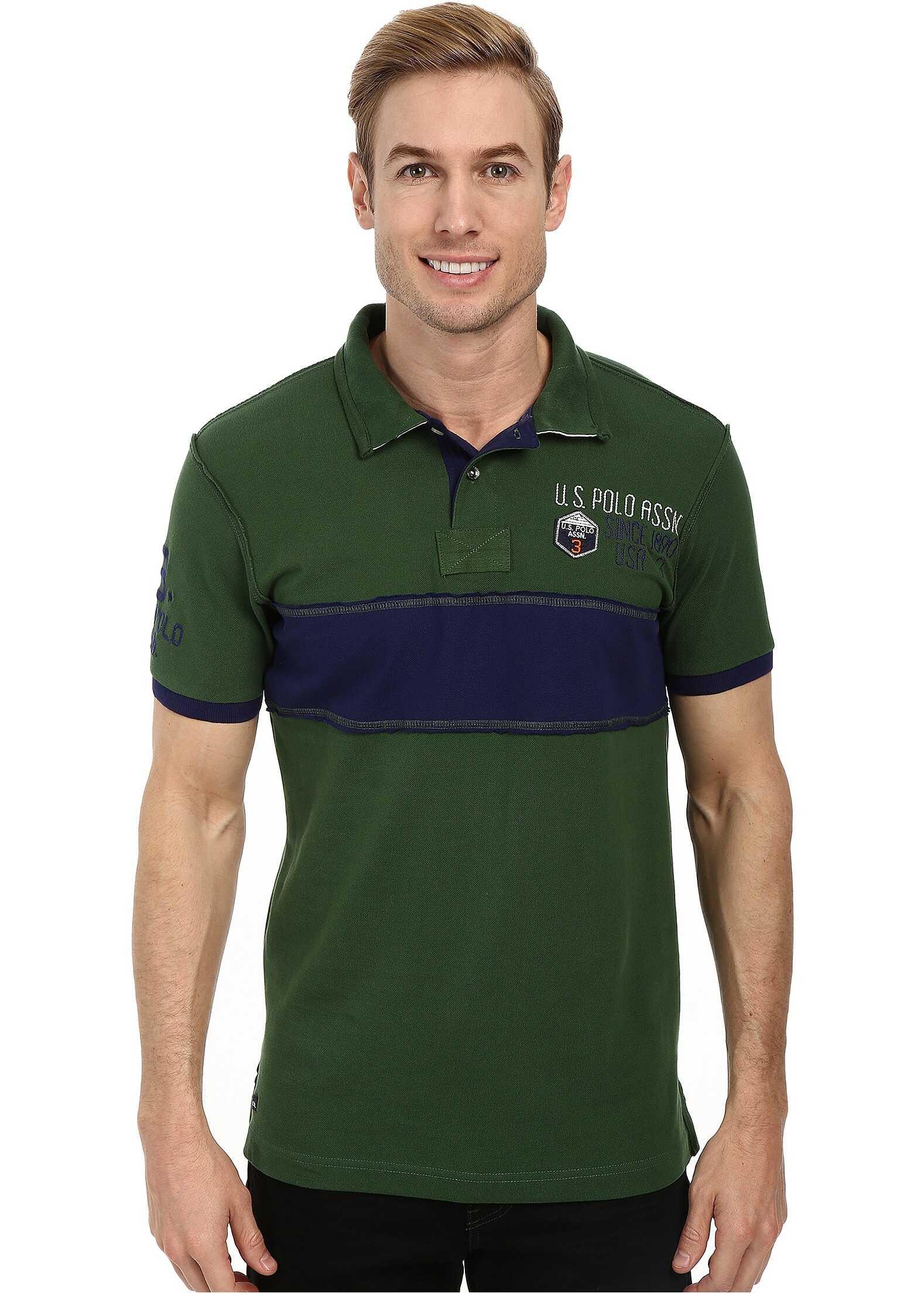 U.S. POLO ASSN. Chest Stripe Slim Fit Polo Cyber Green