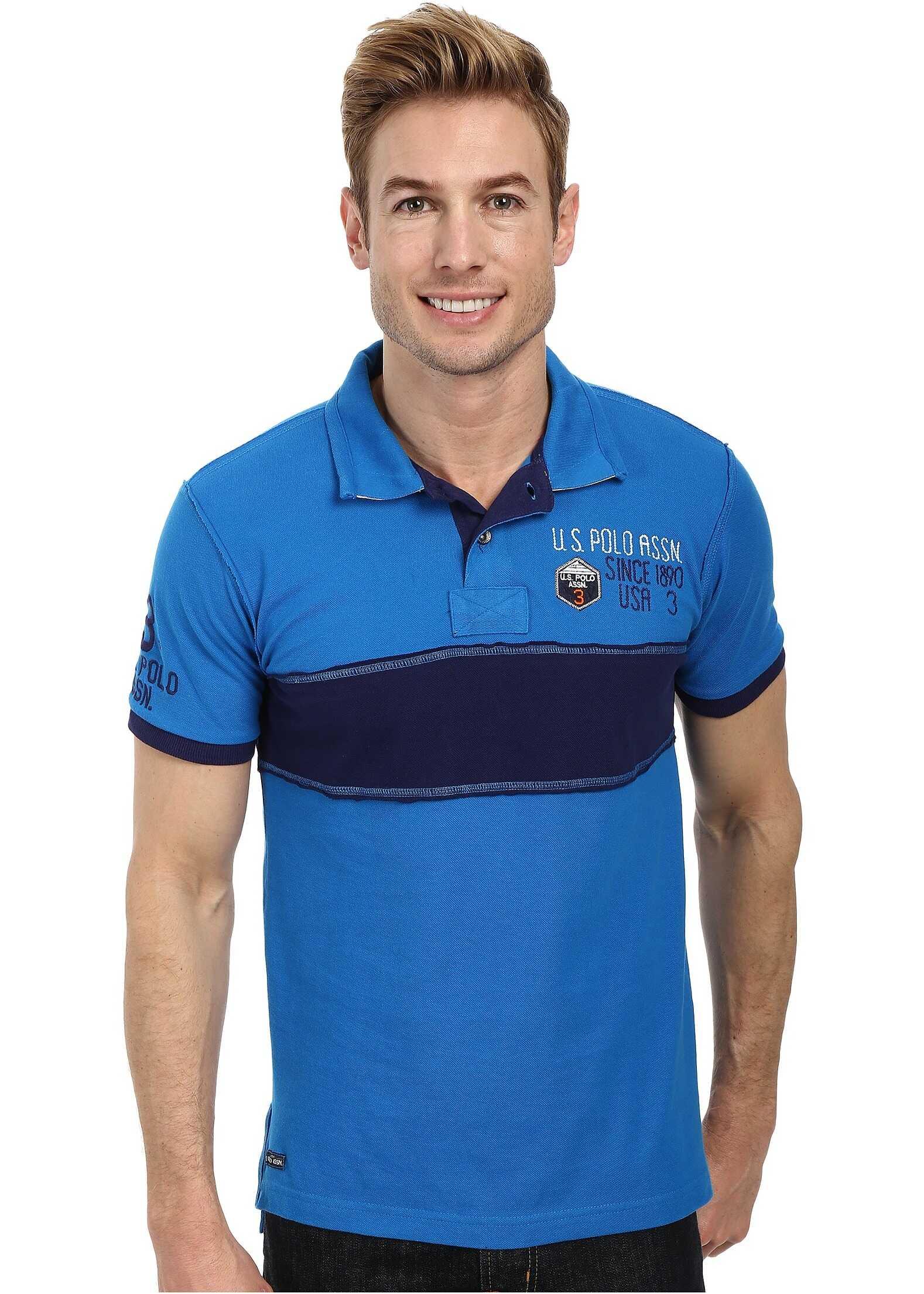 U.S. POLO ASSN. Chest Stripe Slim Fit Polo Blue Tile