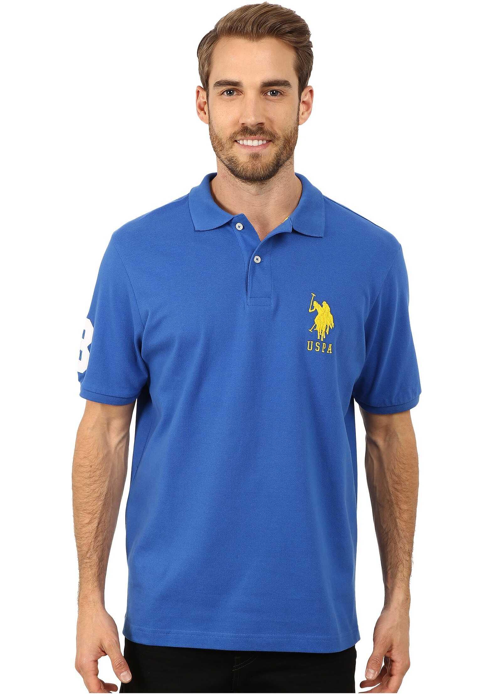 U.S. POLO ASSN. Solid Pique Polo China Blue