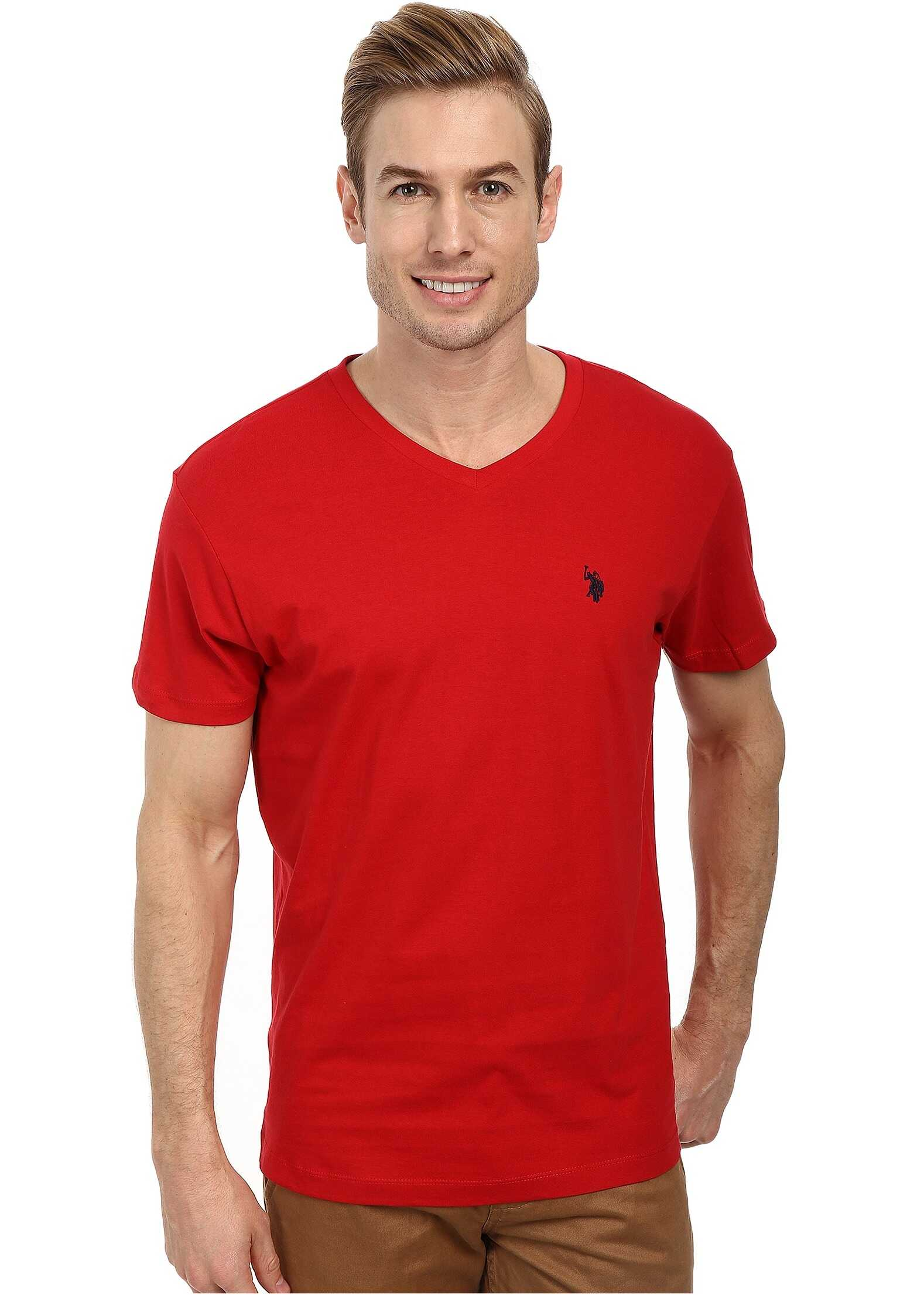 U.S. POLO ASSN. V-Neck Short Sleeve T-Shirt Engine Red