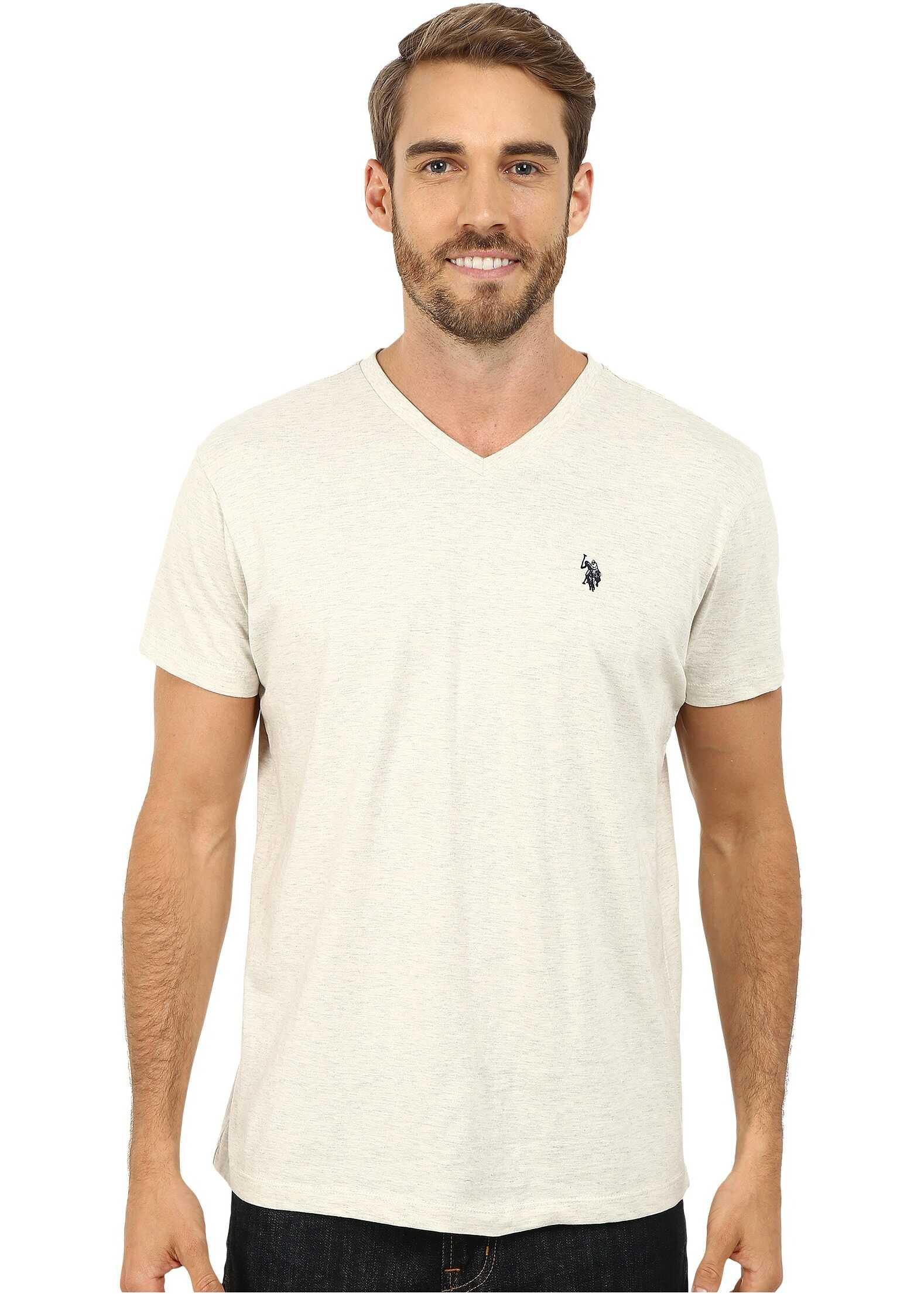 U.S. POLO ASSN. V-Neck Short Sleeve T-Shirt Oatmeal Heather