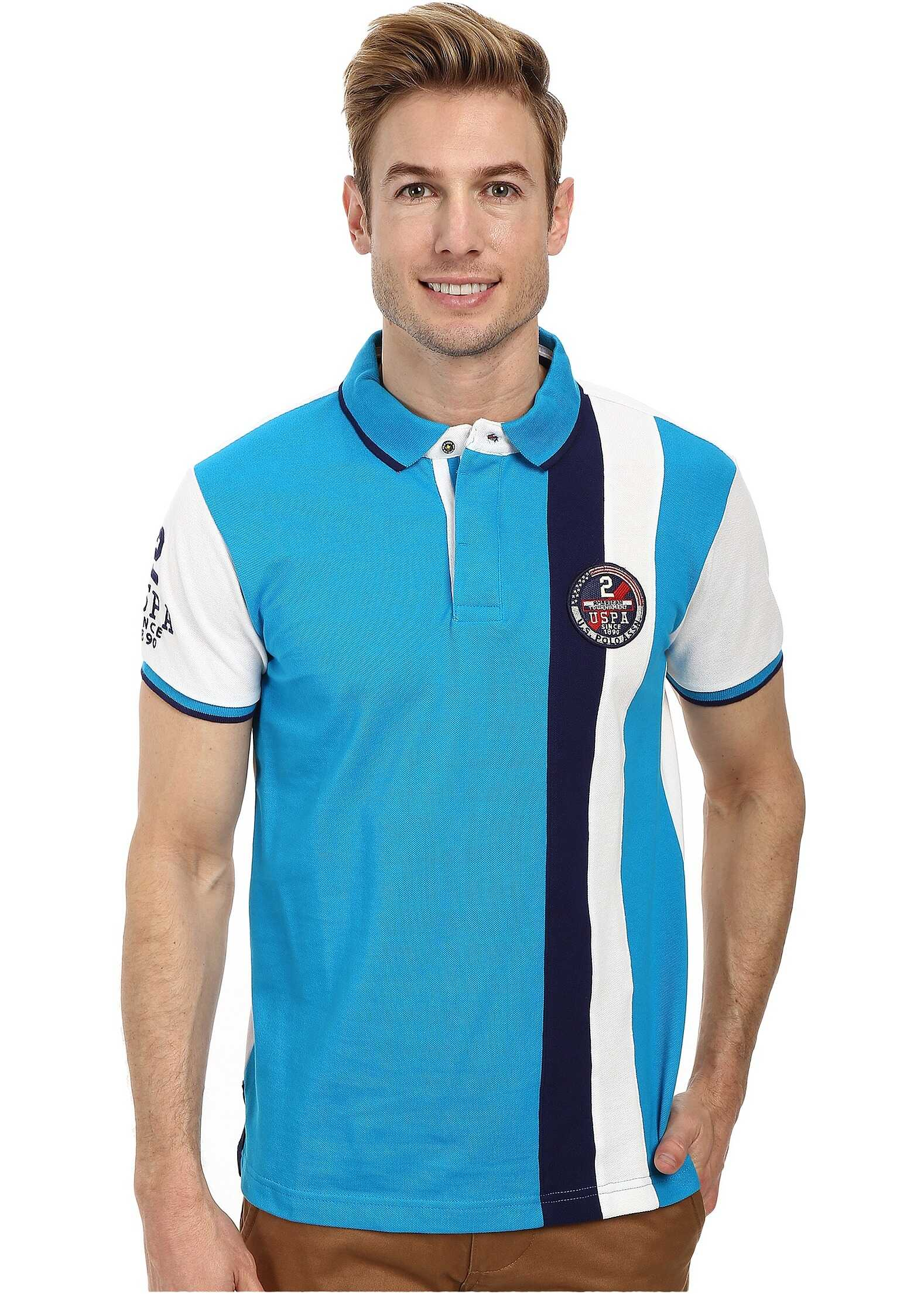 U.S. POLO ASSN. Vertical Stripes Color Block Pique Polo Teal Blue