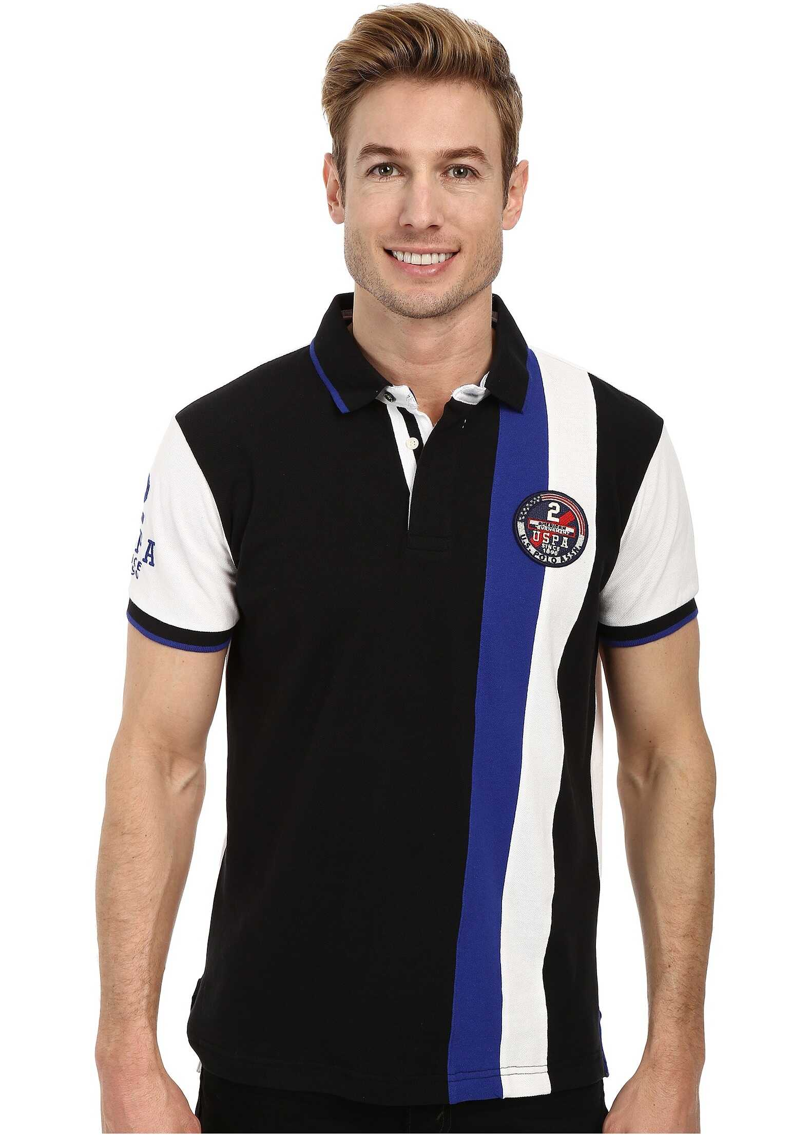 U.S. POLO ASSN. Vertical Stripes Color Block Pique Polo Black