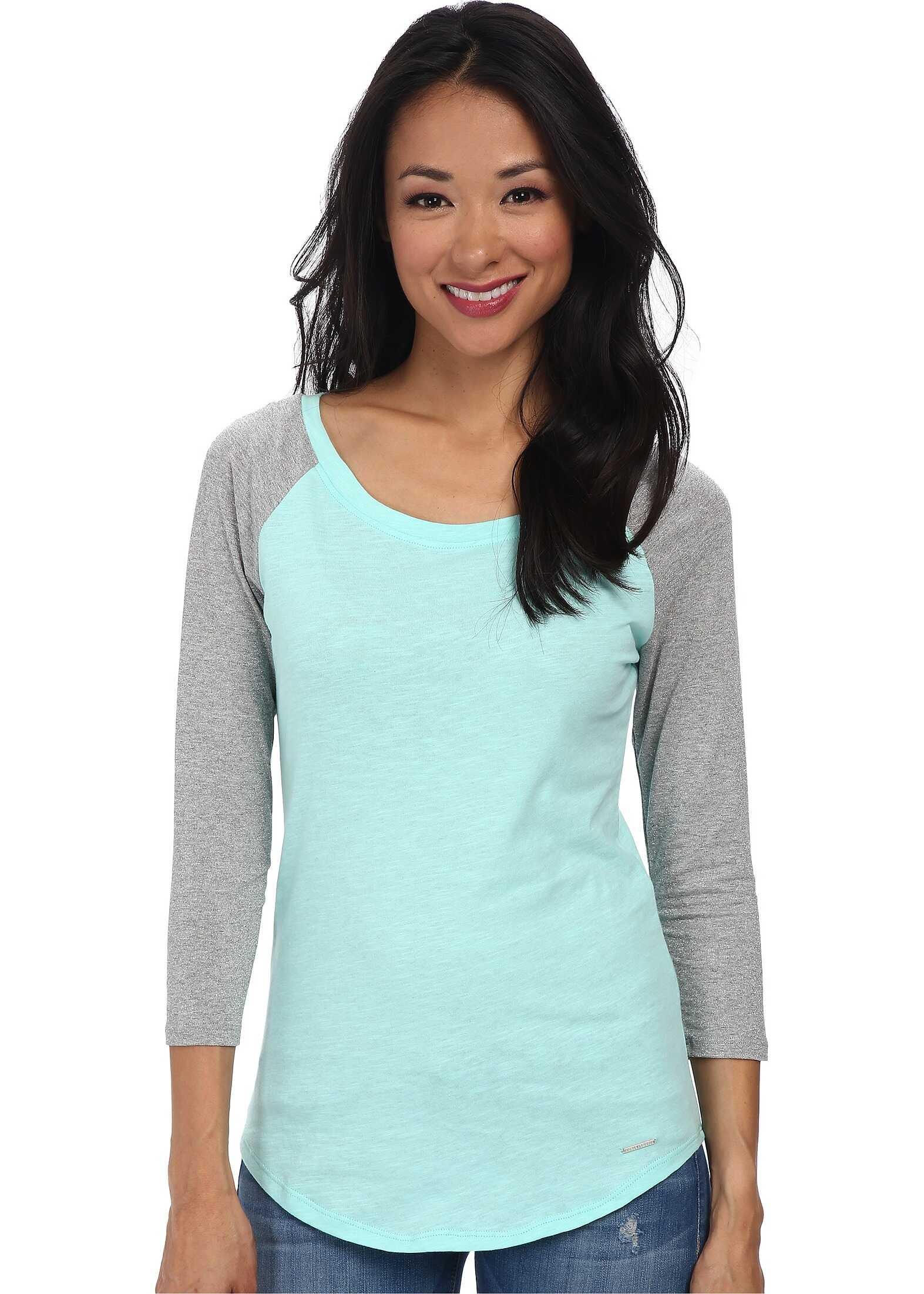 U.S. POLO ASSN. Metallic 3/4 Sleeve with Light Weight Jersey Knit Body T-Shirt Aqua Thaw