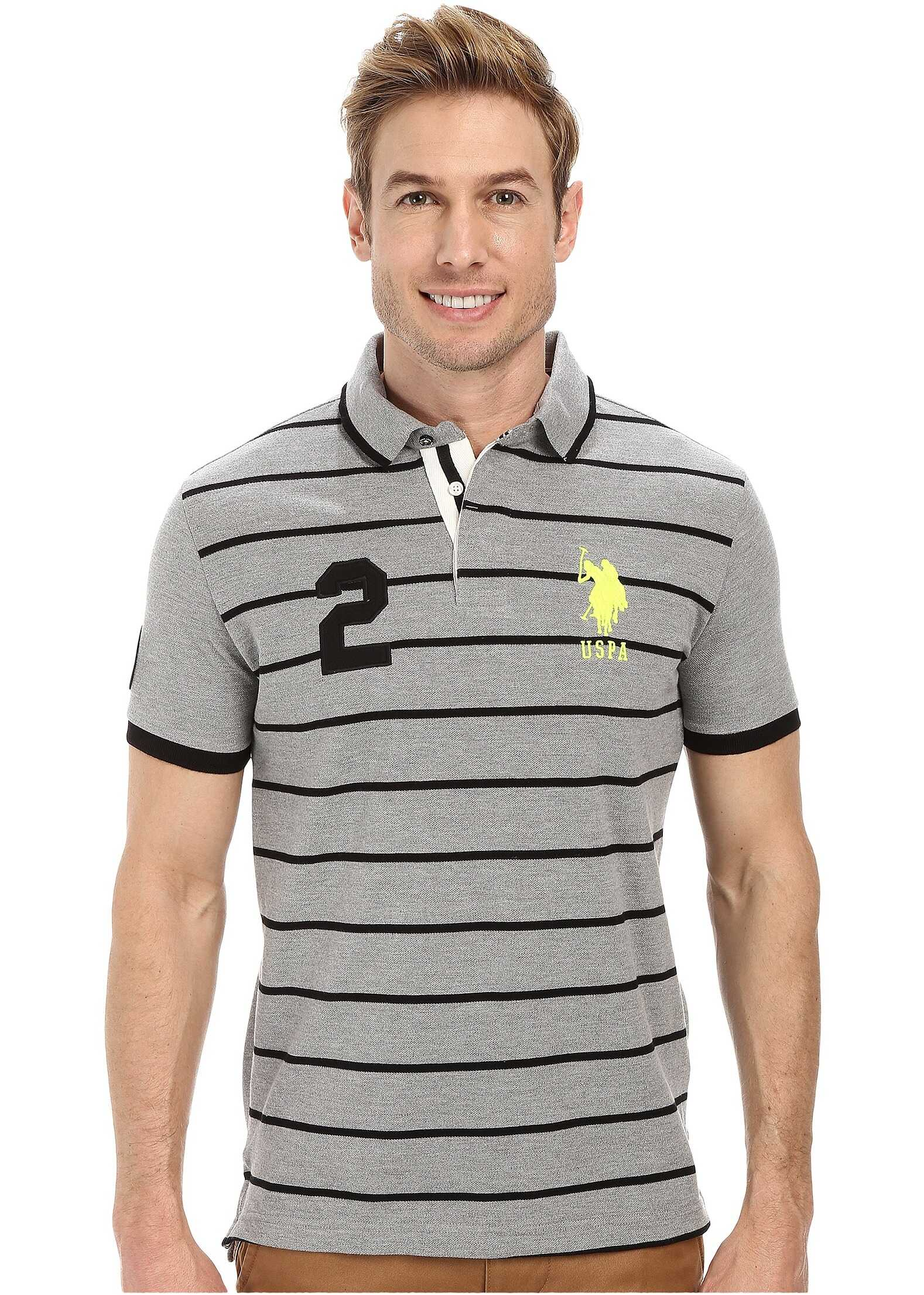 U.S. POLO ASSN. Slim Fit Stripe and Solid Pique Polo Heather Gray