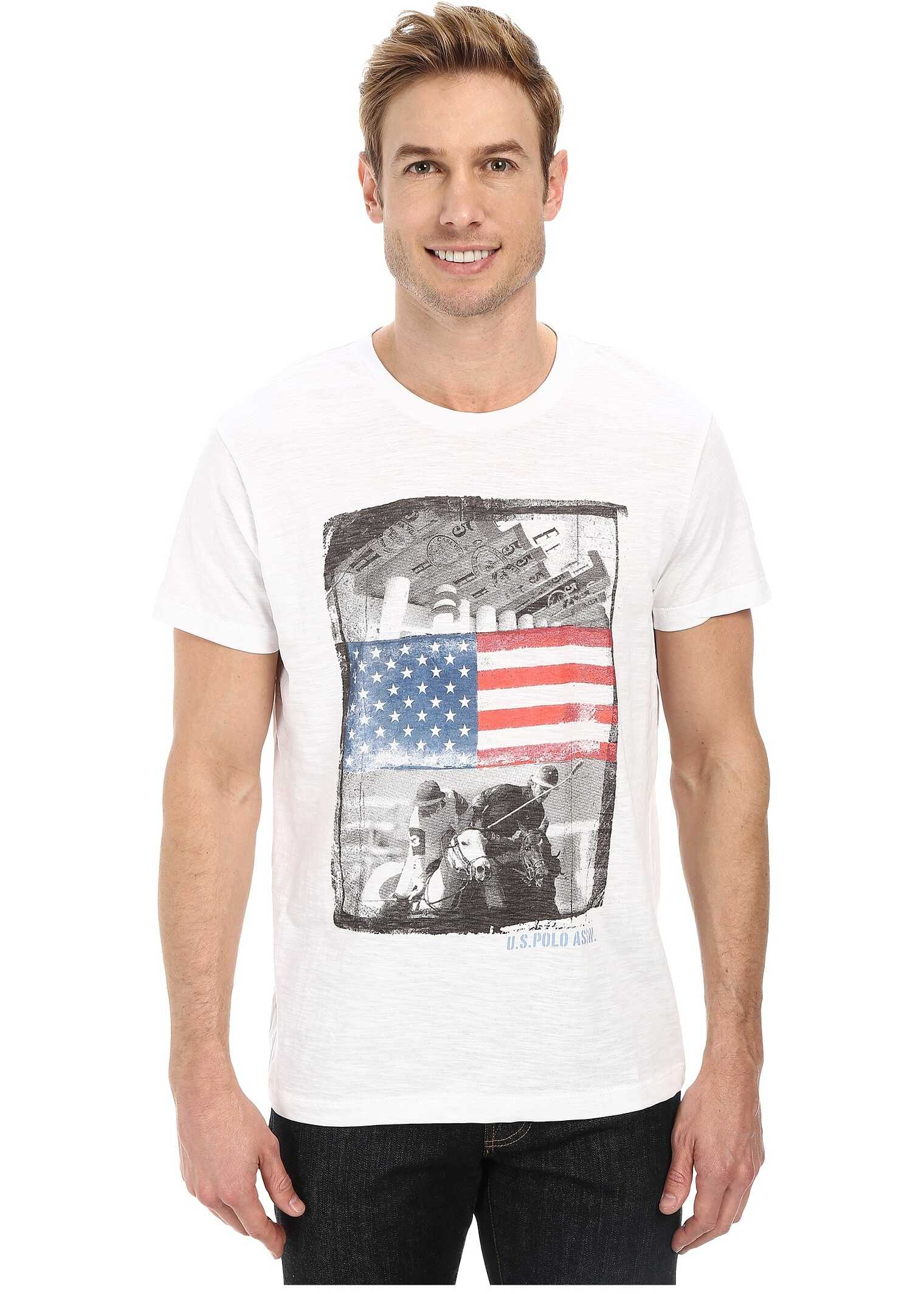 Tricouri u s polo assn polo print t shirt white barbati for T shirt printing stonecrest mall