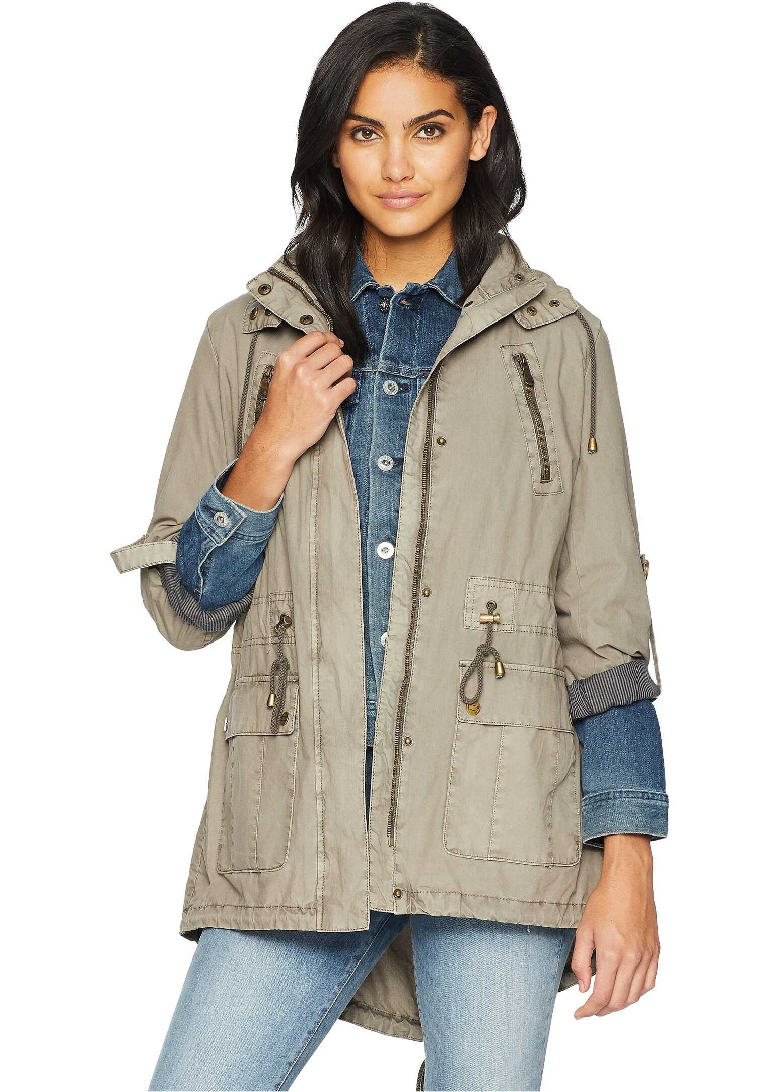 Fashion Light Weight Parka w/ Roll Up Sleeve