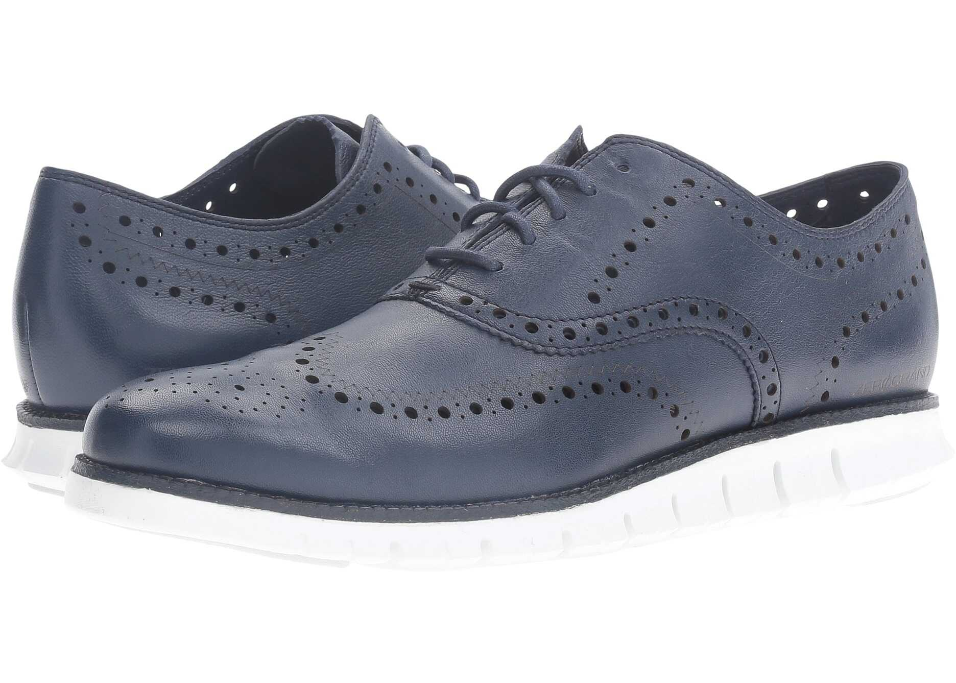 Cole Haan Zerogrand Wing Ox Black Iris Glove Open Holes Leather/White Leather
