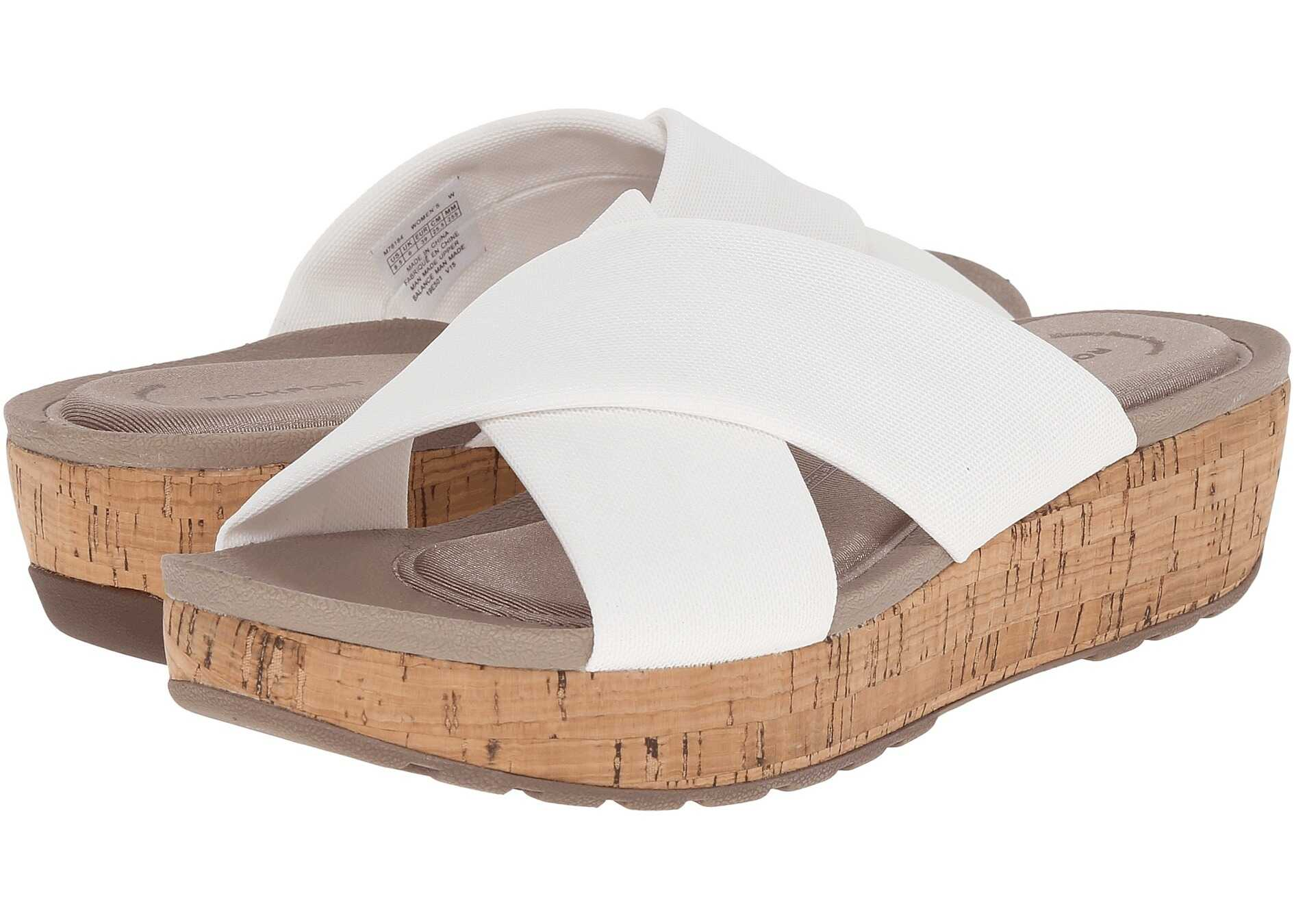Rockport Land Boulevard Cross Slide Flatform Sandal White Stretch