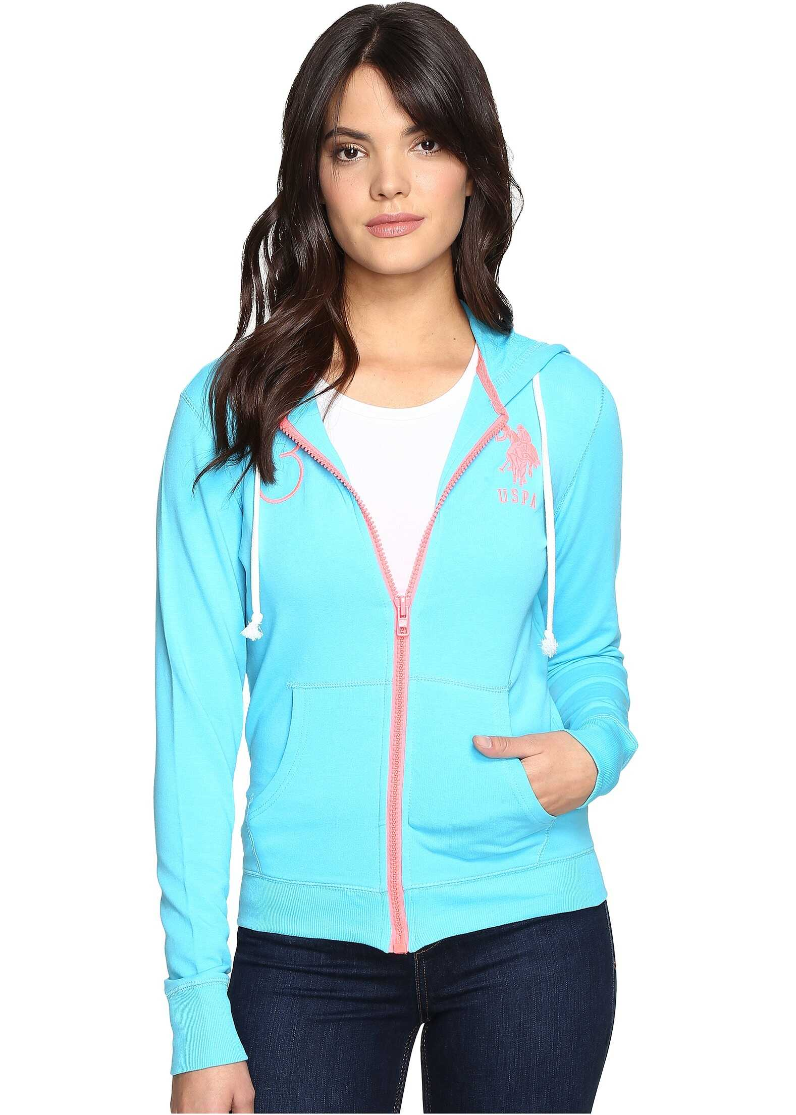 U.S. POLO ASSN. Neon Pop French Terry Hoodie Blue Atoll
