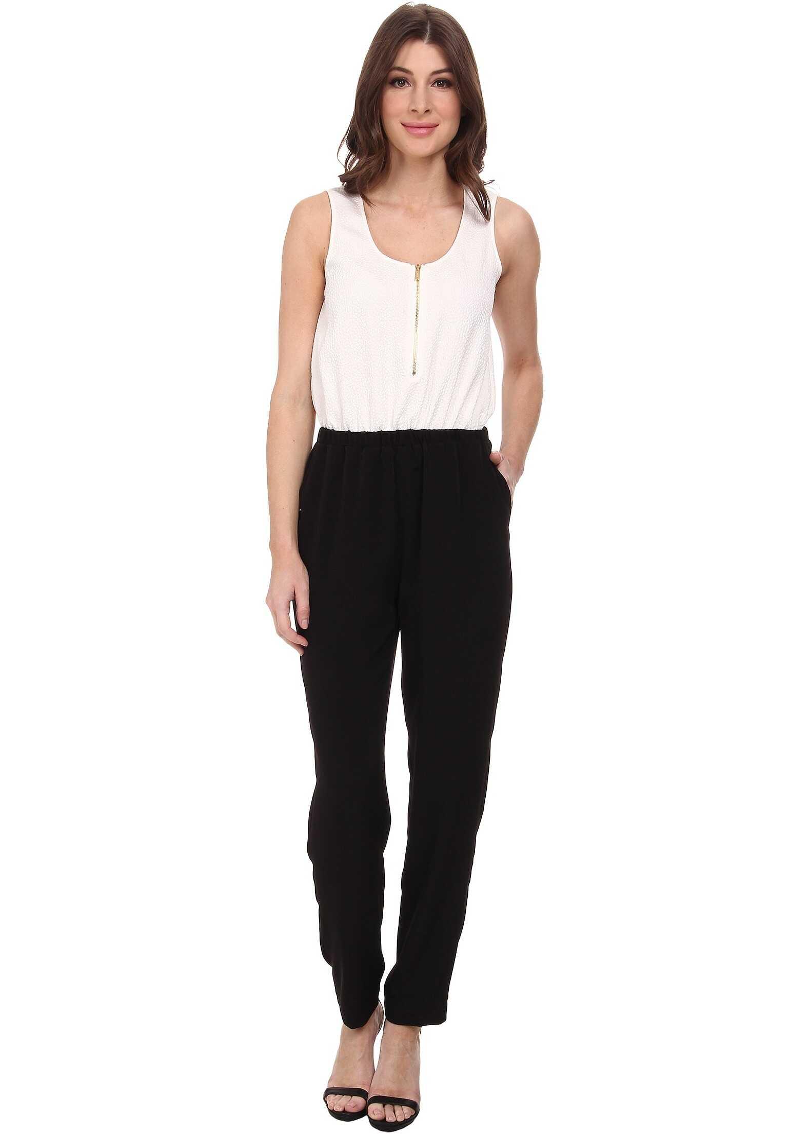 Calvin Klein Pebble Crepe Color Block Jumpsuits Soft White