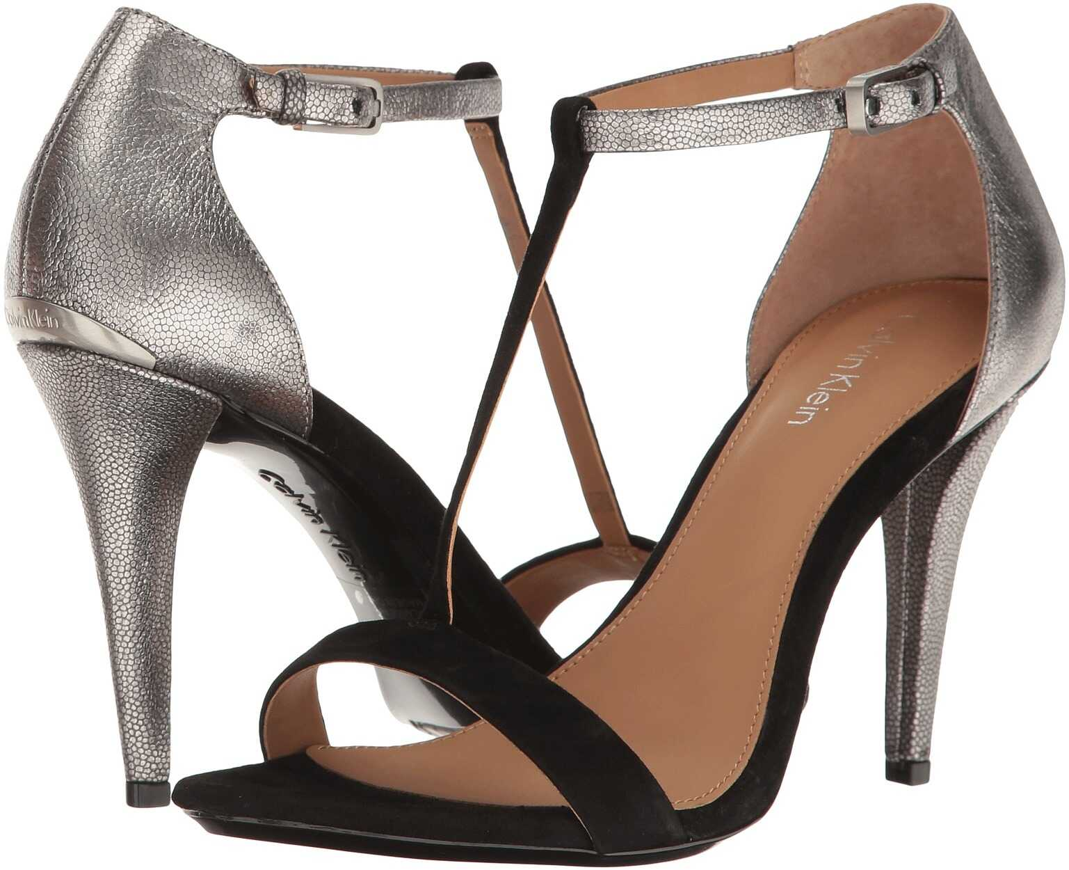 Calvin Klein Nasi Black/Dark Silver Suede/Metallic Stingray Print Leather