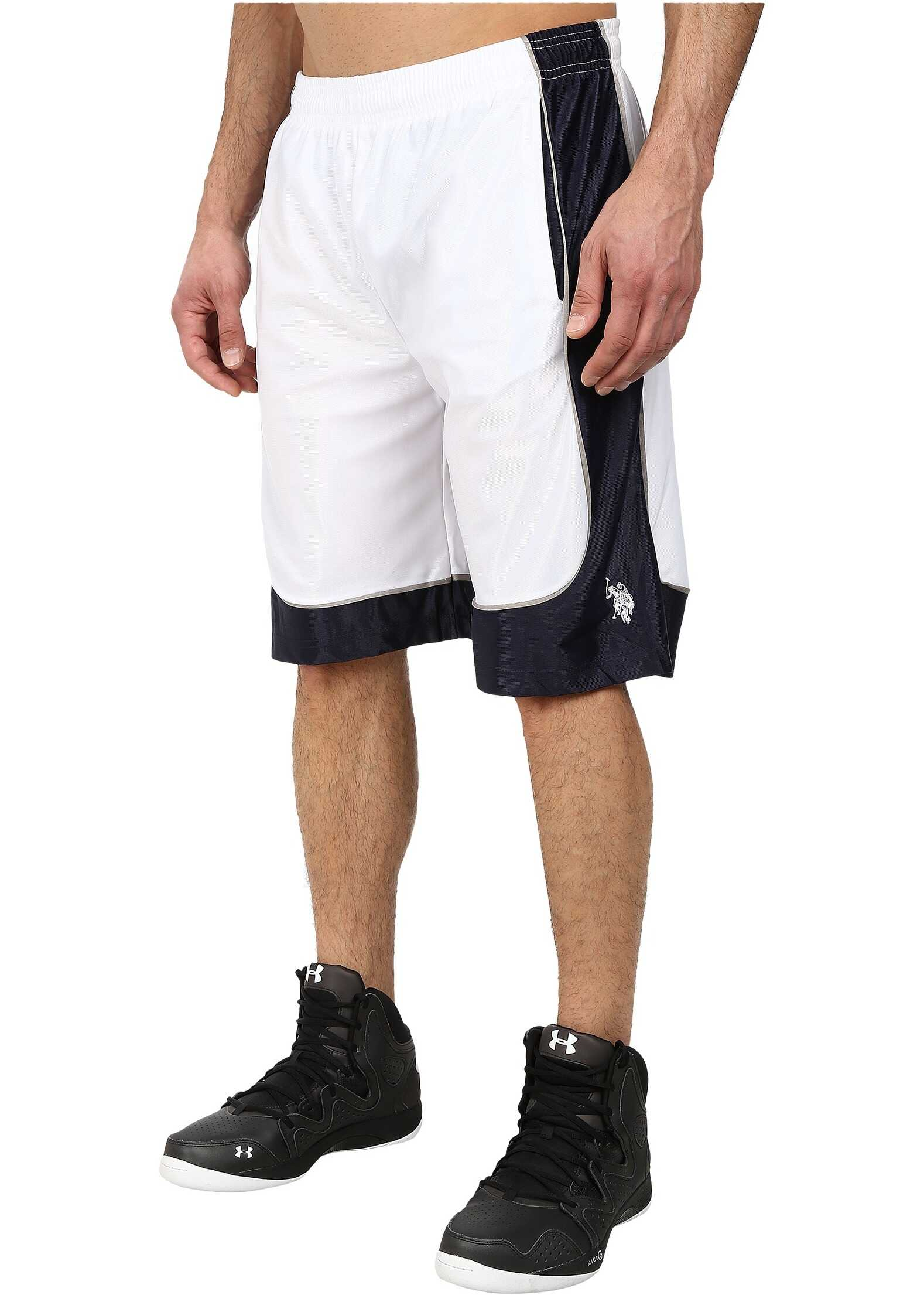 U.S. POLO ASSN. Athletic Shorts with Dazzle Side Panel White