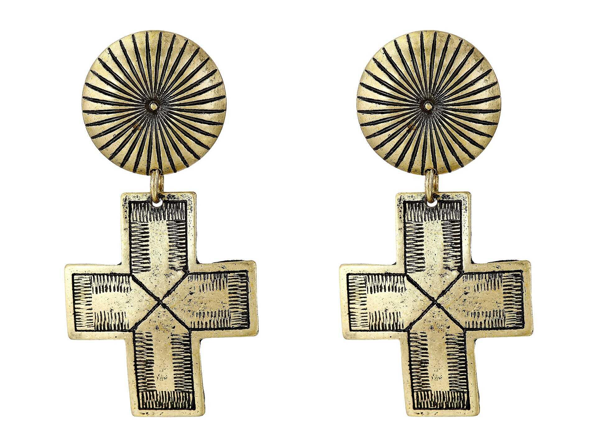 Gypsy SOULE Ribbed Circle Dangle Cross Earrings Gold