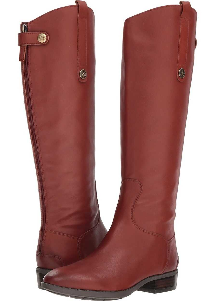 Sam Edelman Penny Leather Riding Boot Redwood Brown Basto Crust Tumbled Leather