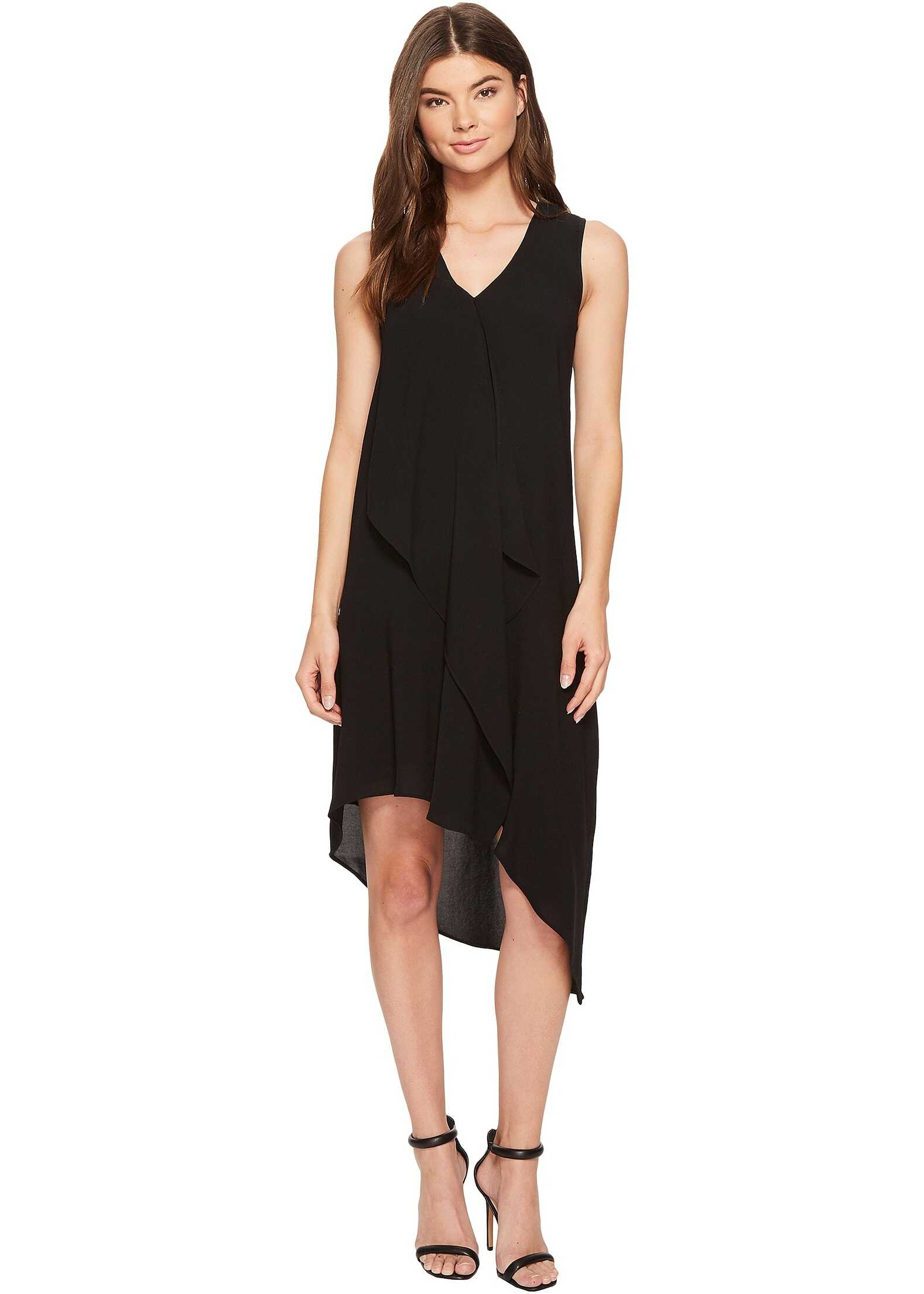 Adrianna Papell Asymmetrical Front Drape Dress Black 2