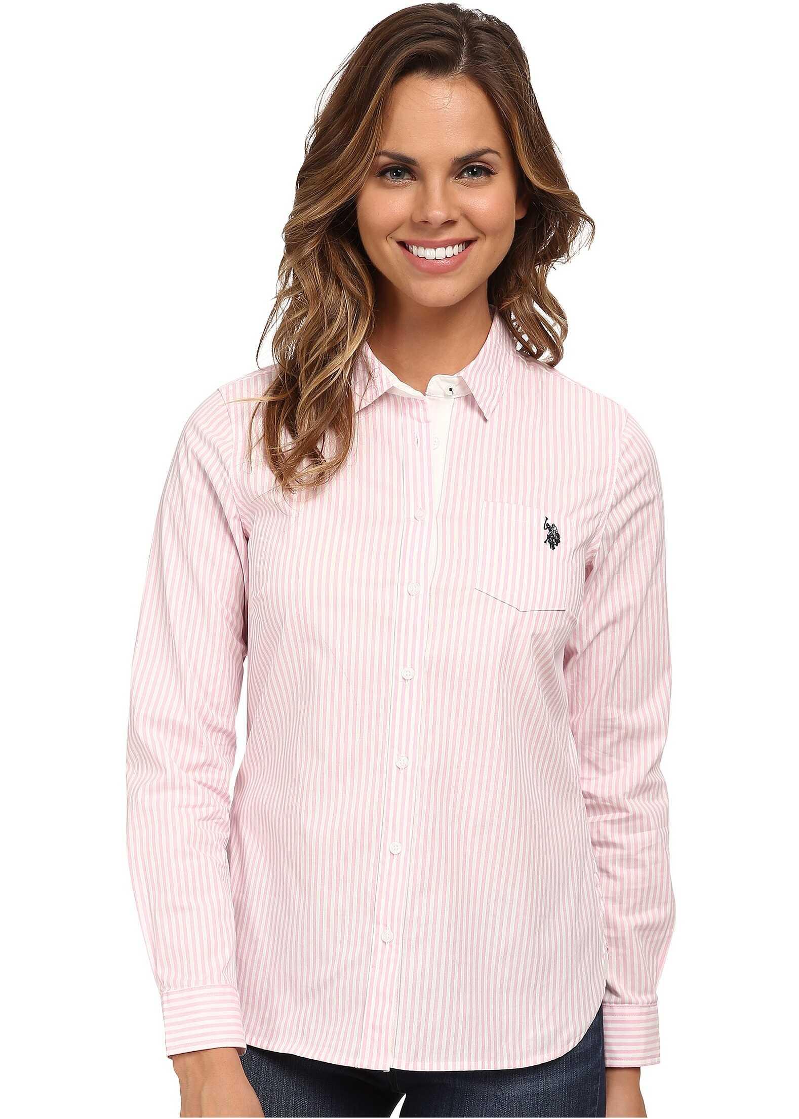 U.S. POLO ASSN. Long Sleeve Vertical Stripe Shirt Prism Pink
