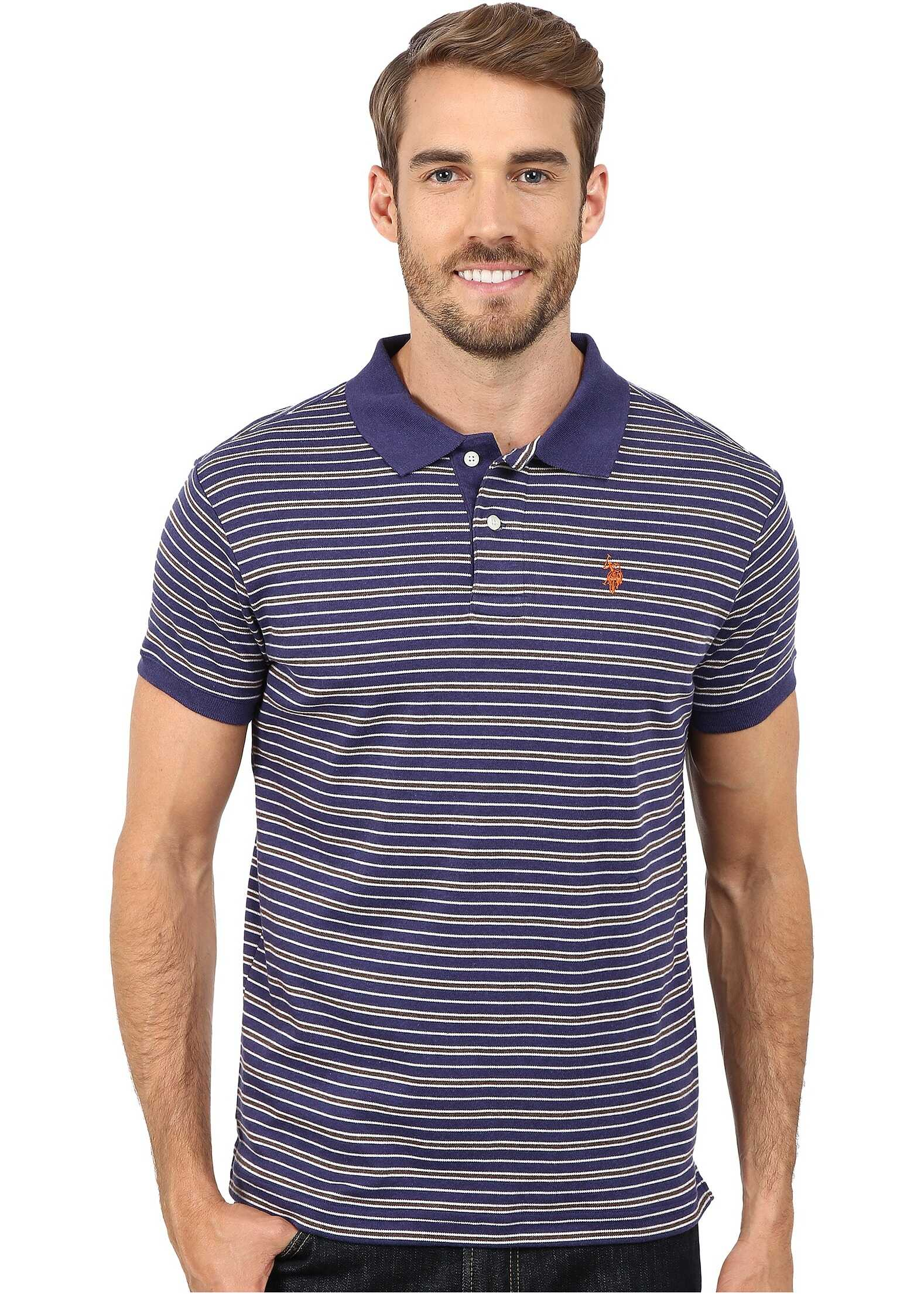 U.S. POLO ASSN. Feeder Striped Interlock Polo Dodger Blue