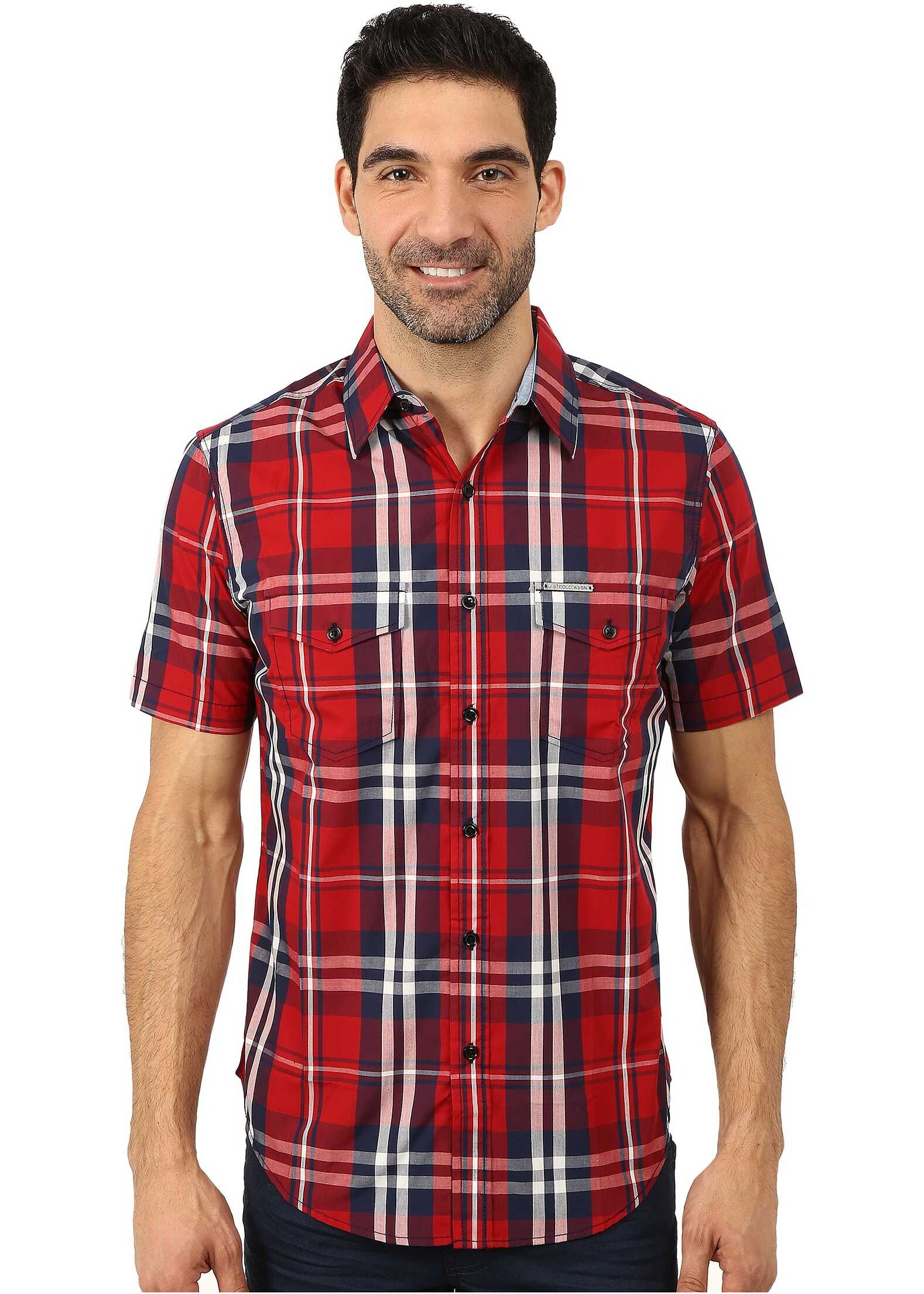 U.S. POLO ASSN. Slim Fit Short Sleeve Plaid Sport Shirt Apple Cinnamon