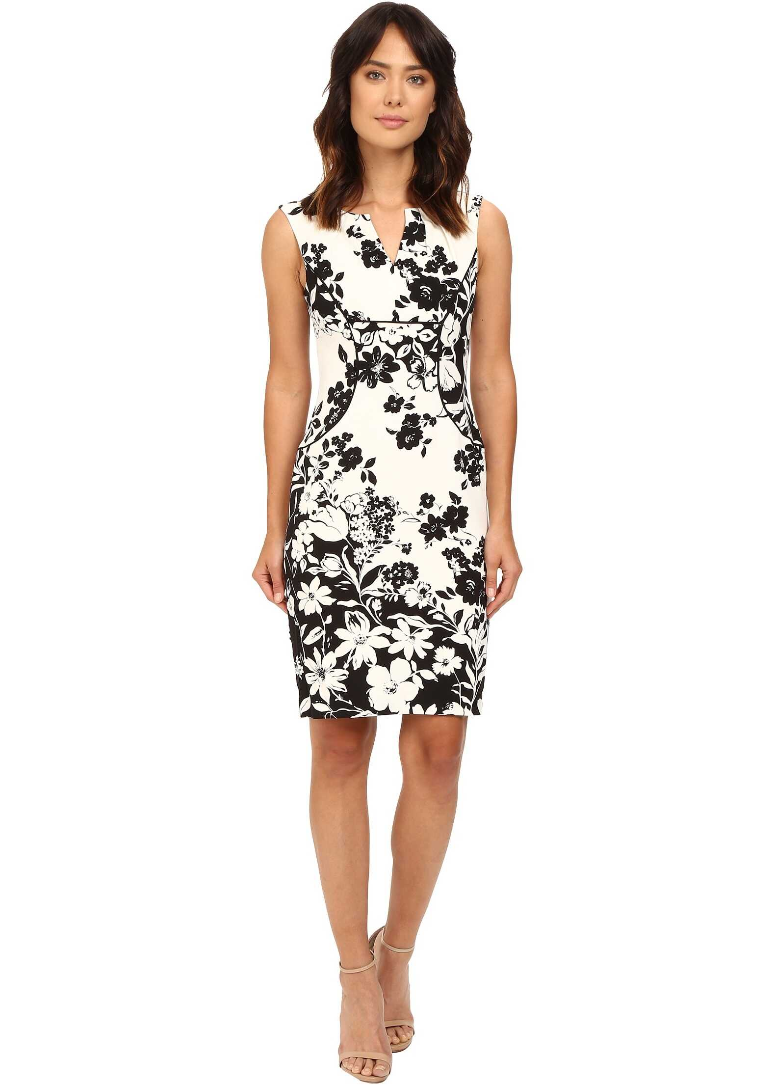 Rochie Femei Adrianna Papell Floral And Line Printed Pleated Sheath Dress Ivory/black