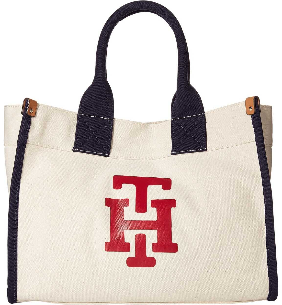 Tommy Hilfiger Canvas TH Print Medium Tote Natural/Red