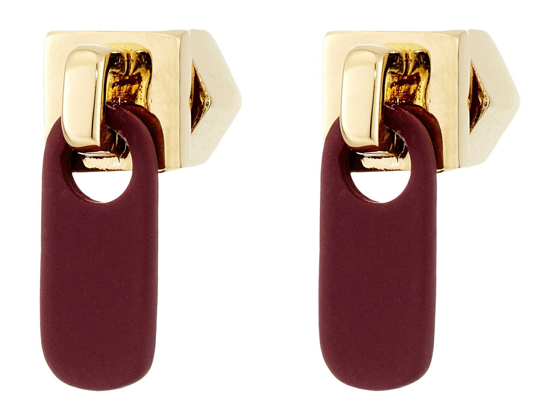 Marc by Marc Jacobs Lost and Found Colored Zipper Pull Stud Earrings Garnet