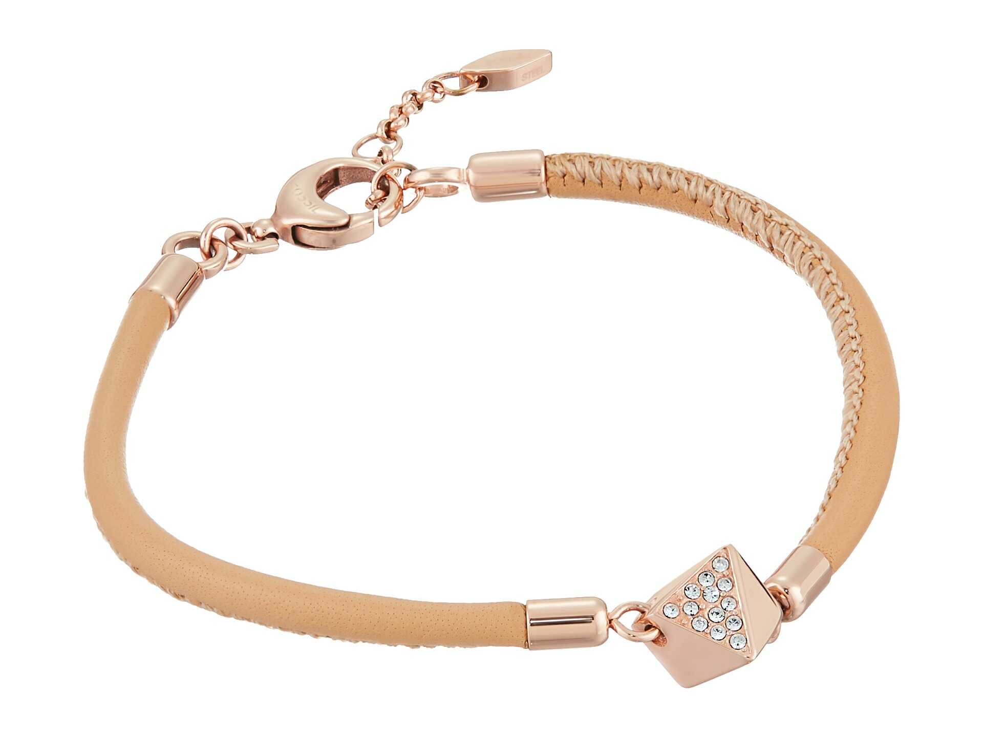 Fossil Nugget Cord Bracelet Rose Gold Tone