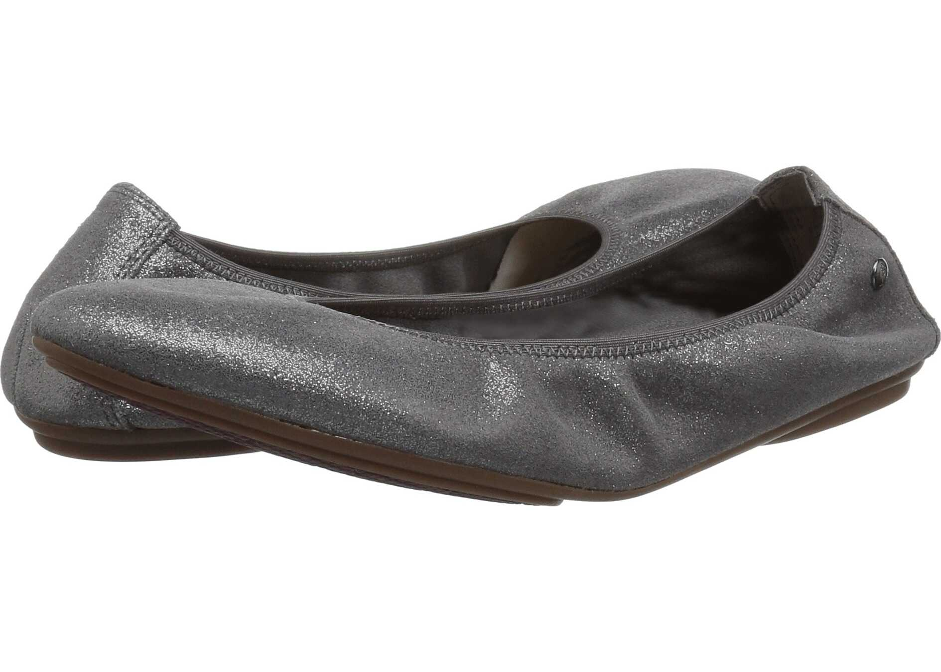 Hush Puppies Chaste Ballet Dark Grey Metallic Suede