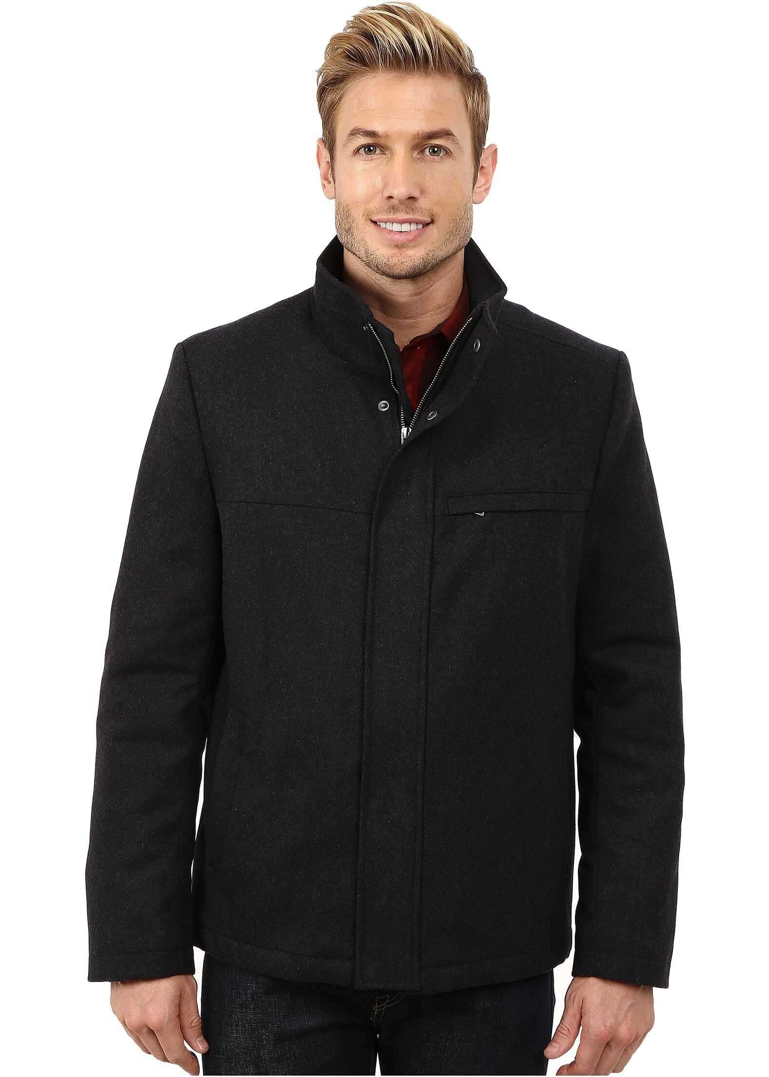IZOD Wool Jacket with Color Trim Charcoal