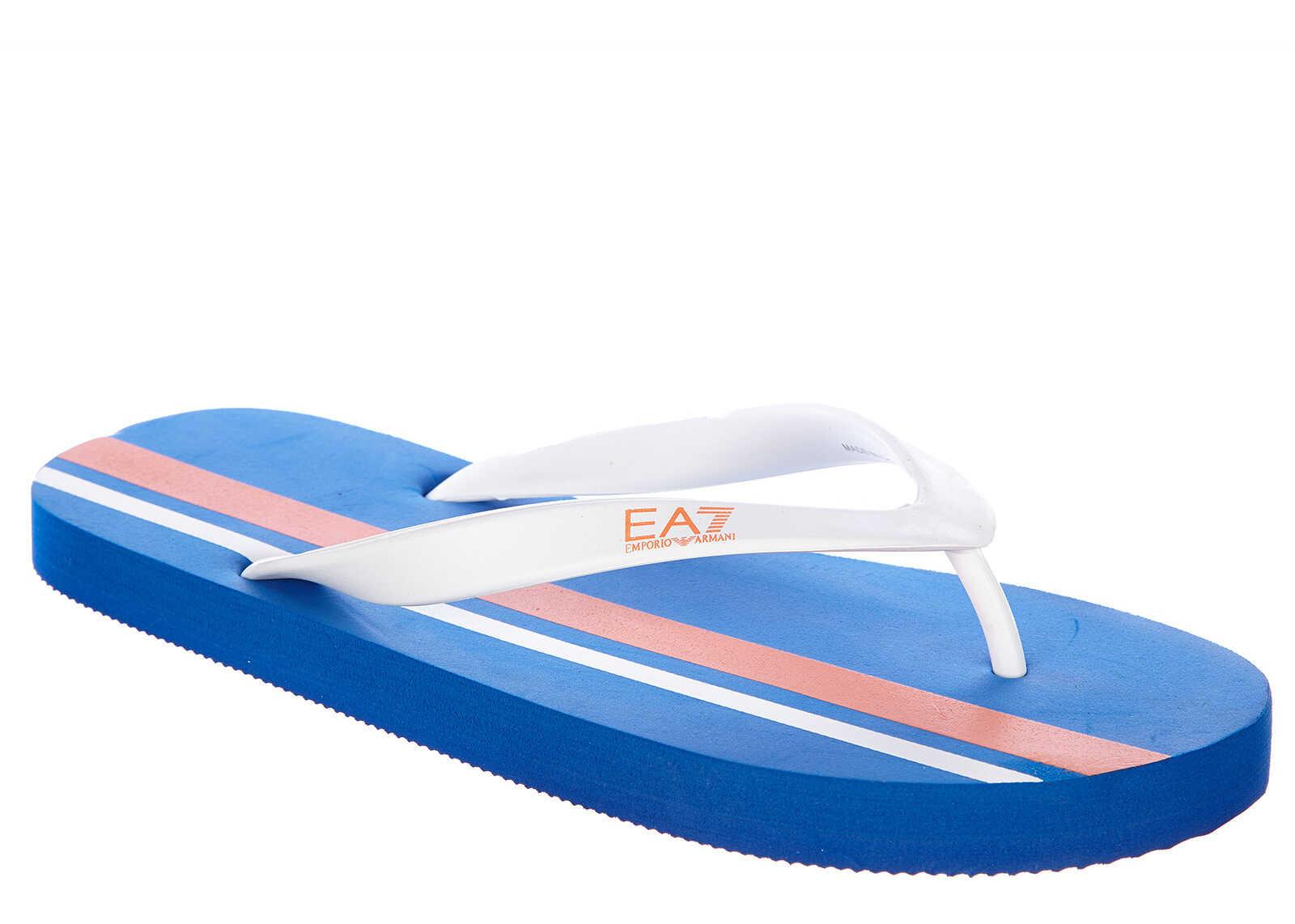 EA7 Rubber Flip Flops Fresbee Blue