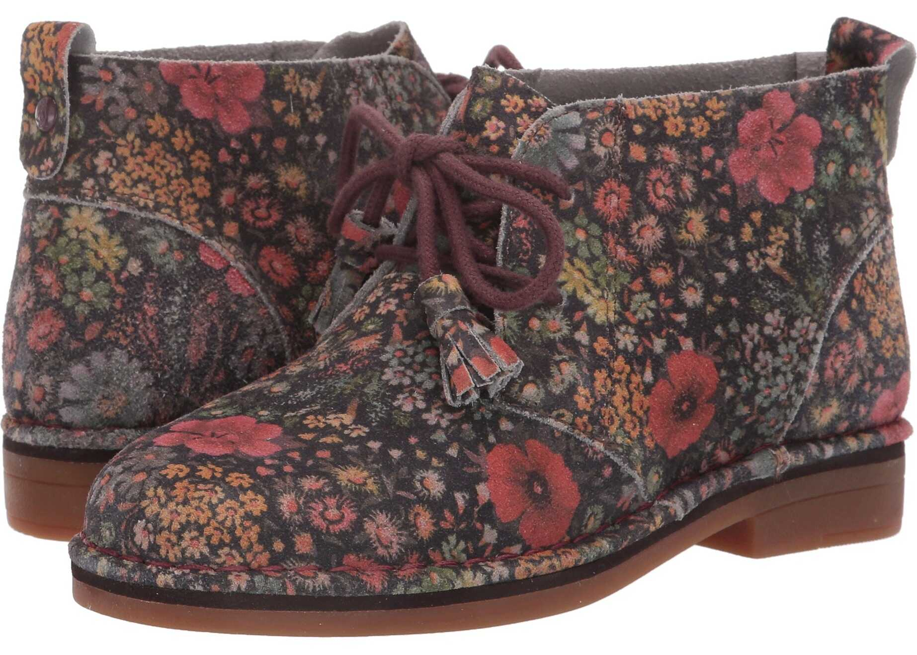 Hush Puppies Cyra Catelyn Black Floral Suede