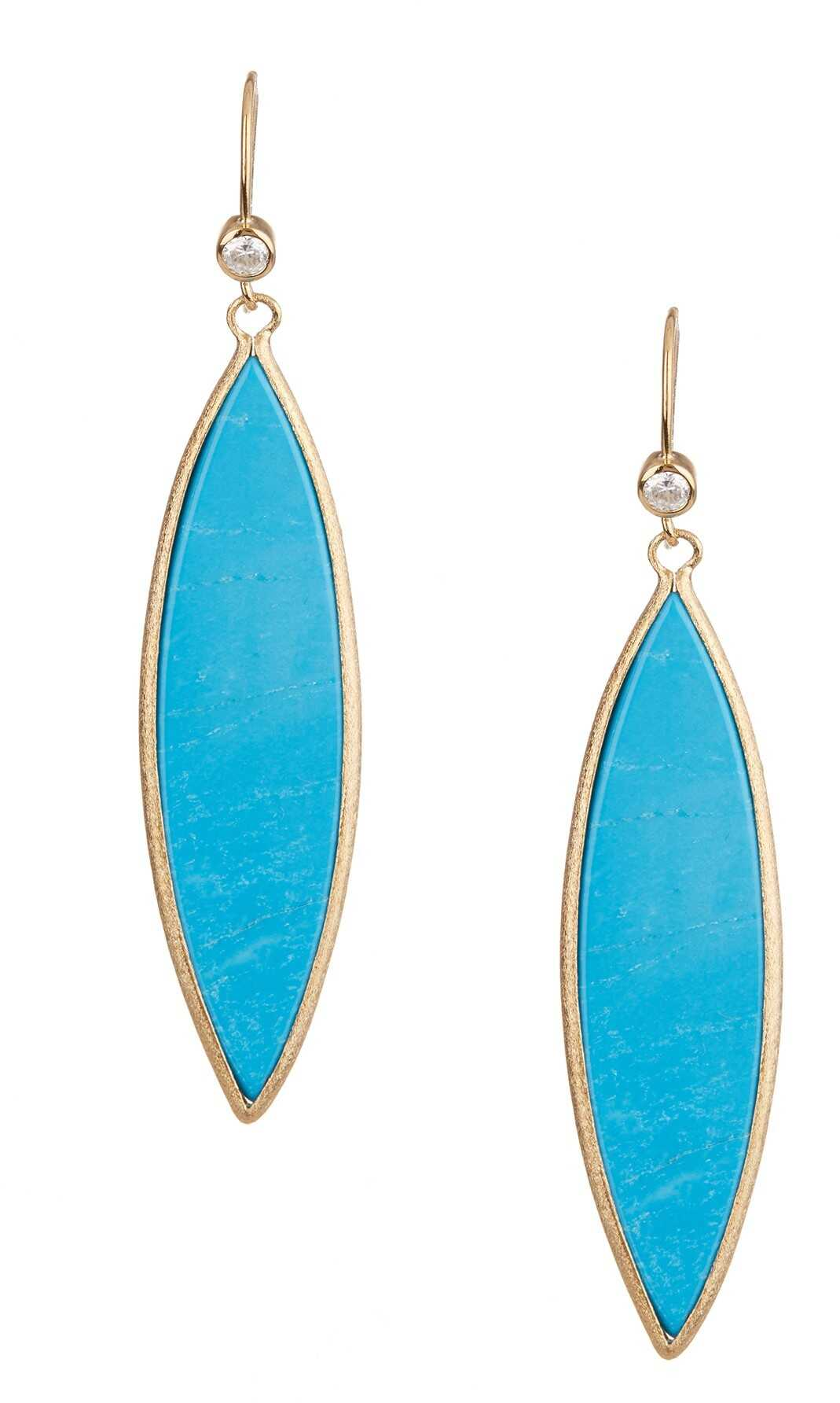 Rivka Friedman 18K Gold Clad Magnesite Marquise Dangle Earrings Blue-Clear