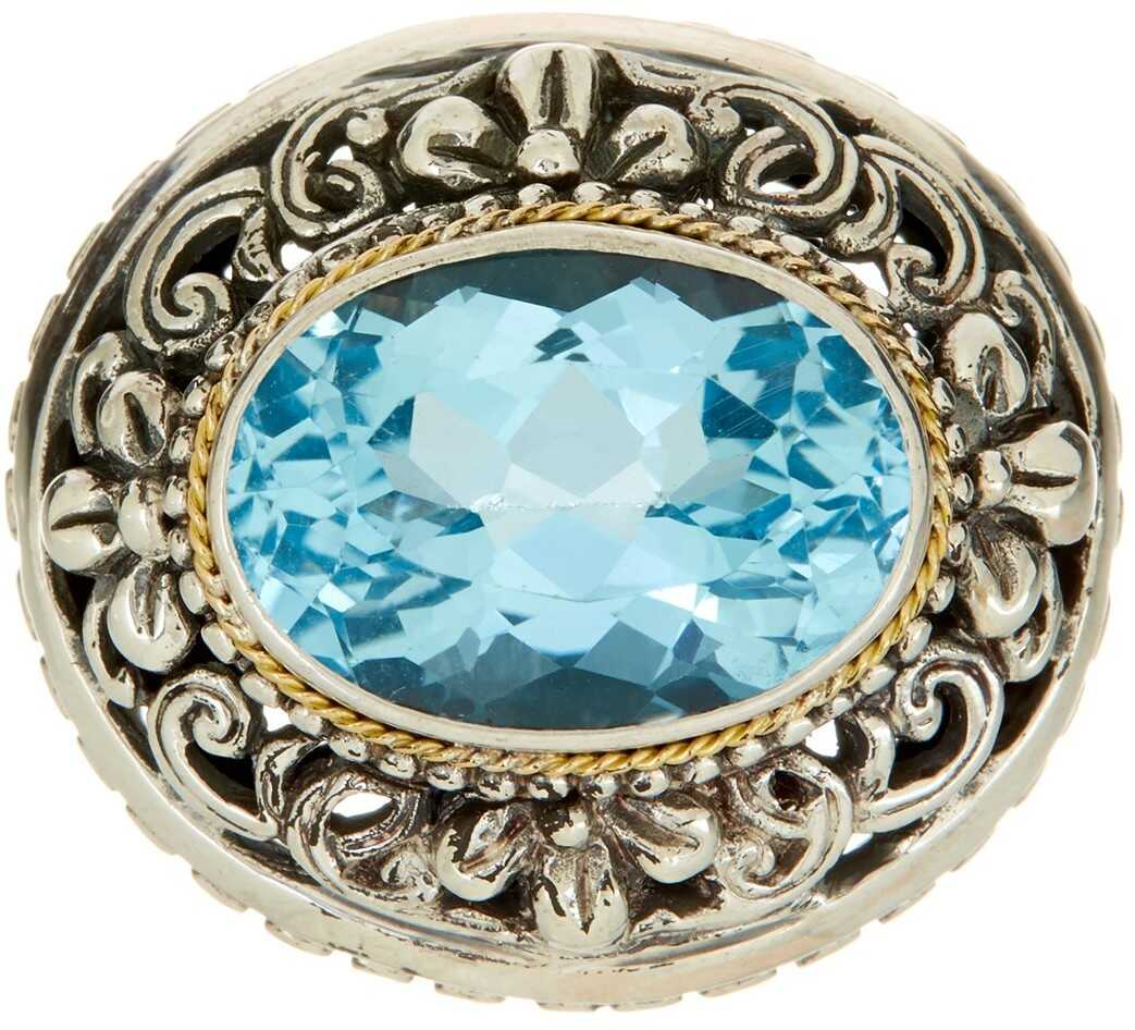 Phillip Gavriel 18K Yellow Gold & Sterling Silver Blue Topaz Designer Ring Yellow-White