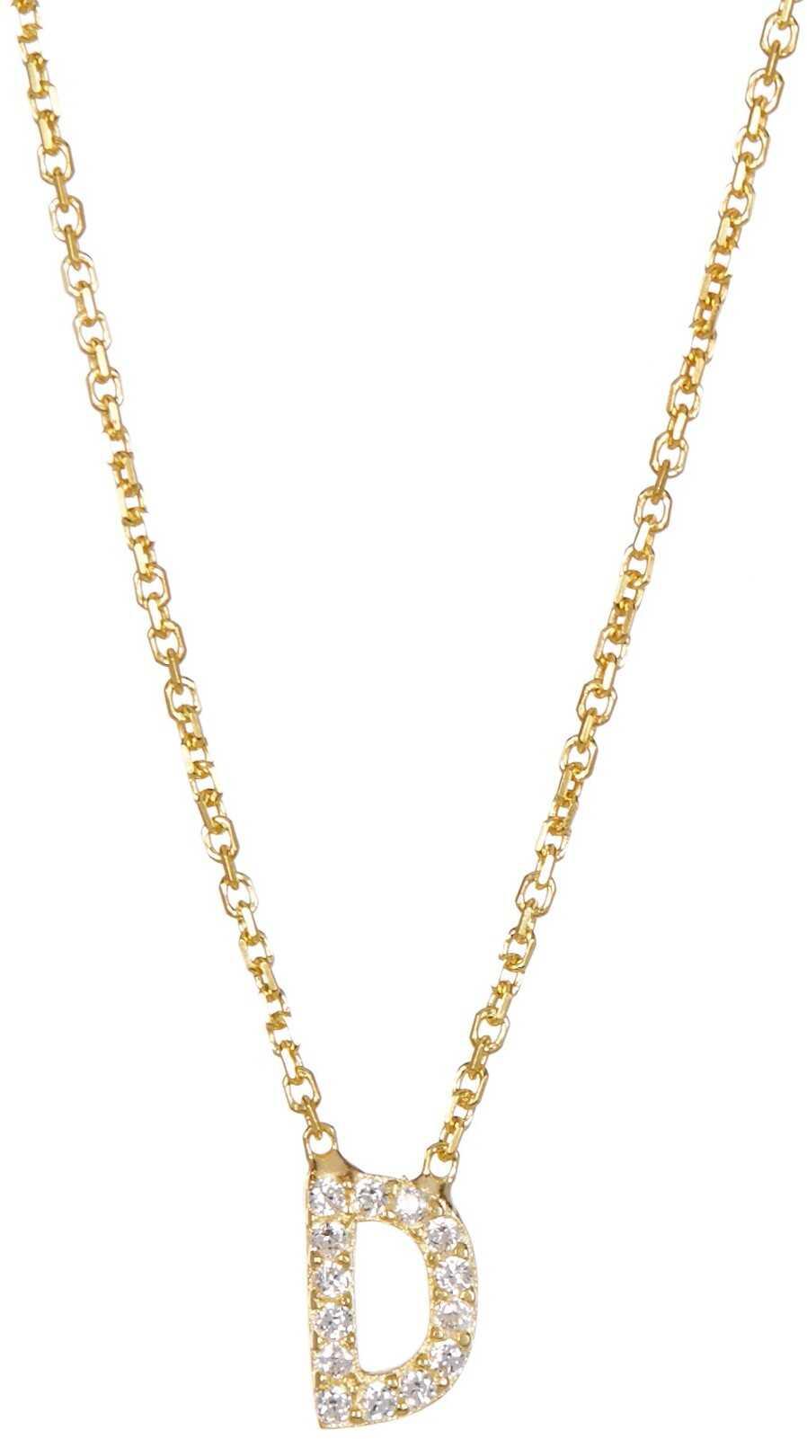 Gab+Cos Designs Gold Vermeil Block D Charm Necklace GOLD