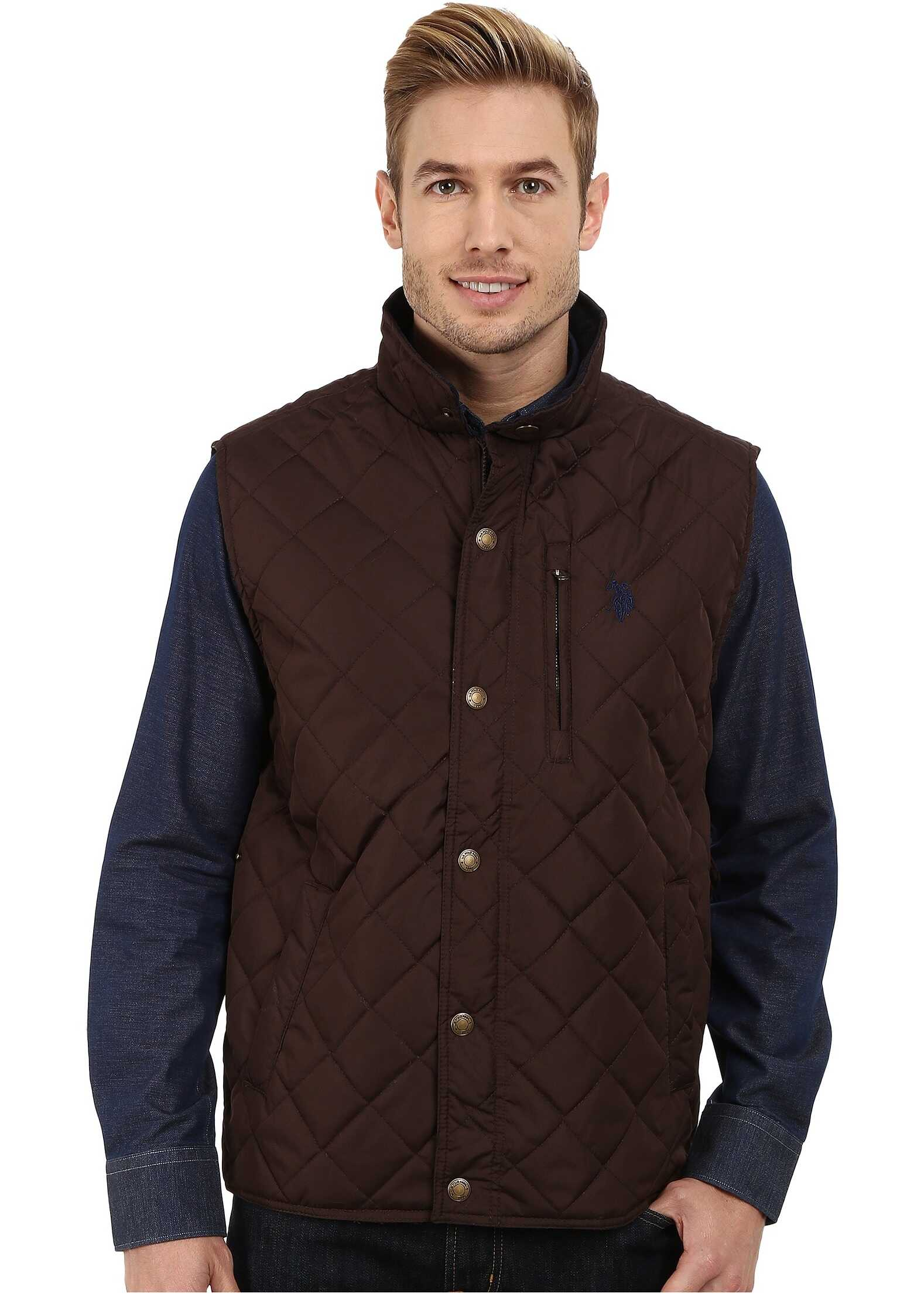 U.S. POLO ASSN. Diamond Quilted Vest with Corduroy Collar Dark Brown